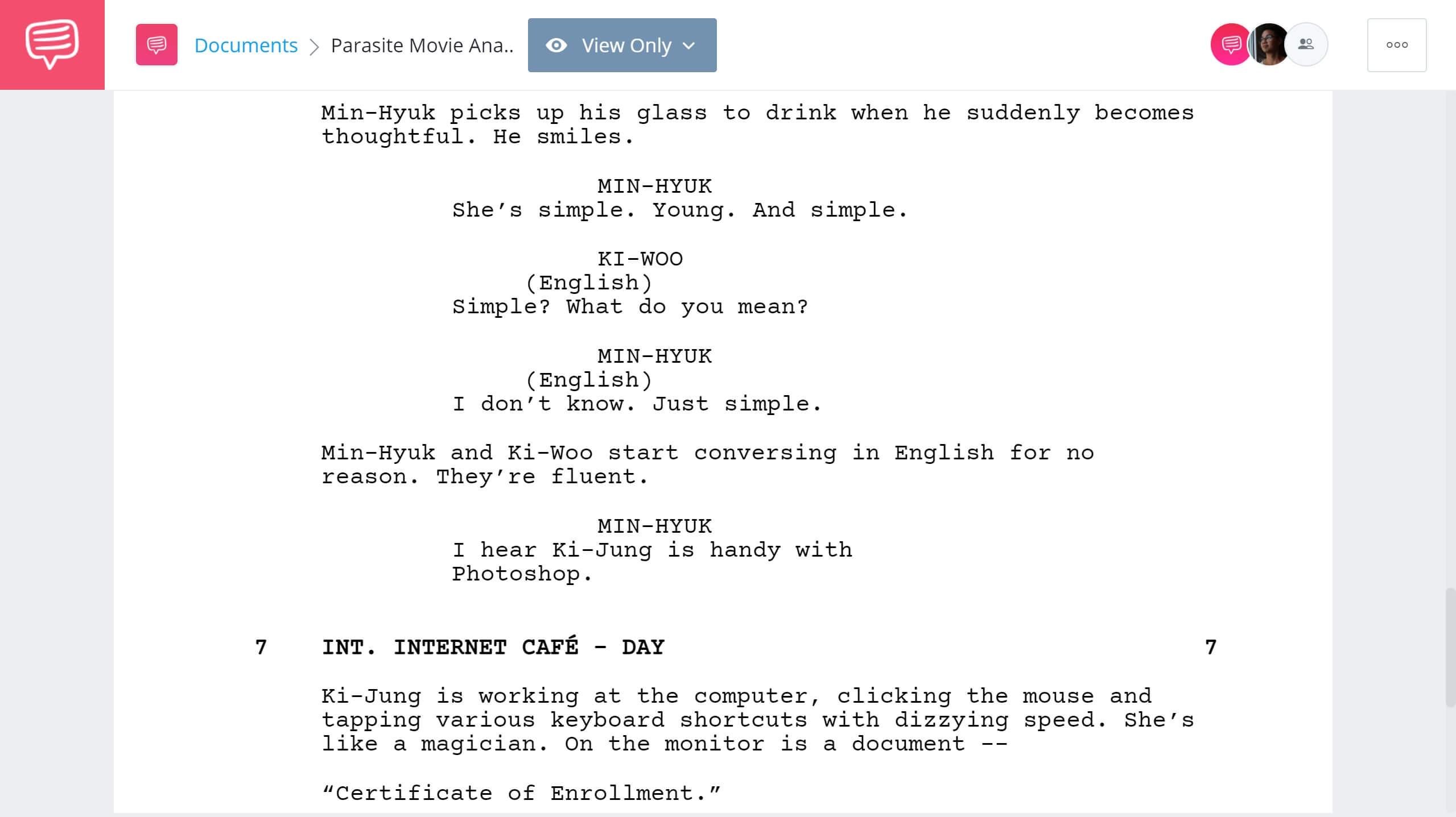 Parasite Movie Analysis - Parasite Meaning Conveyes through Script Exerpt - StudioBinder Screenwriting Software