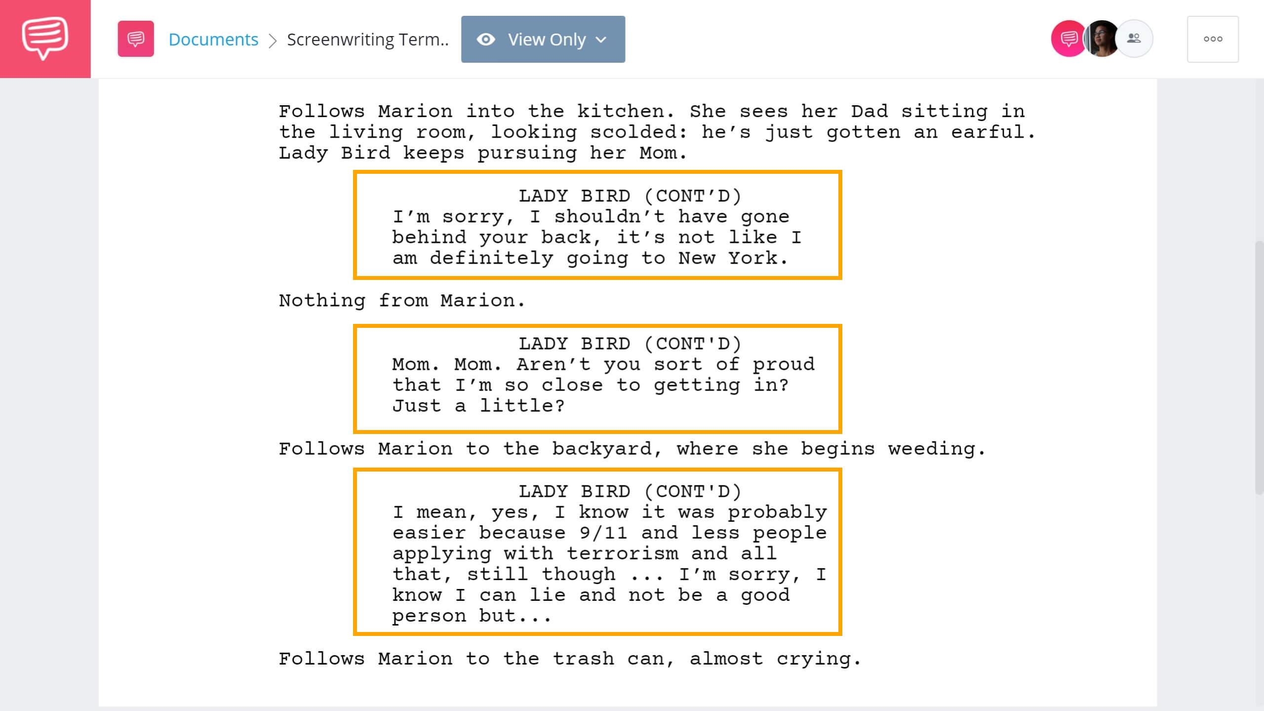 Screenwriting Terms - CONT'D Example - StudioBinder Screenwriting Software
