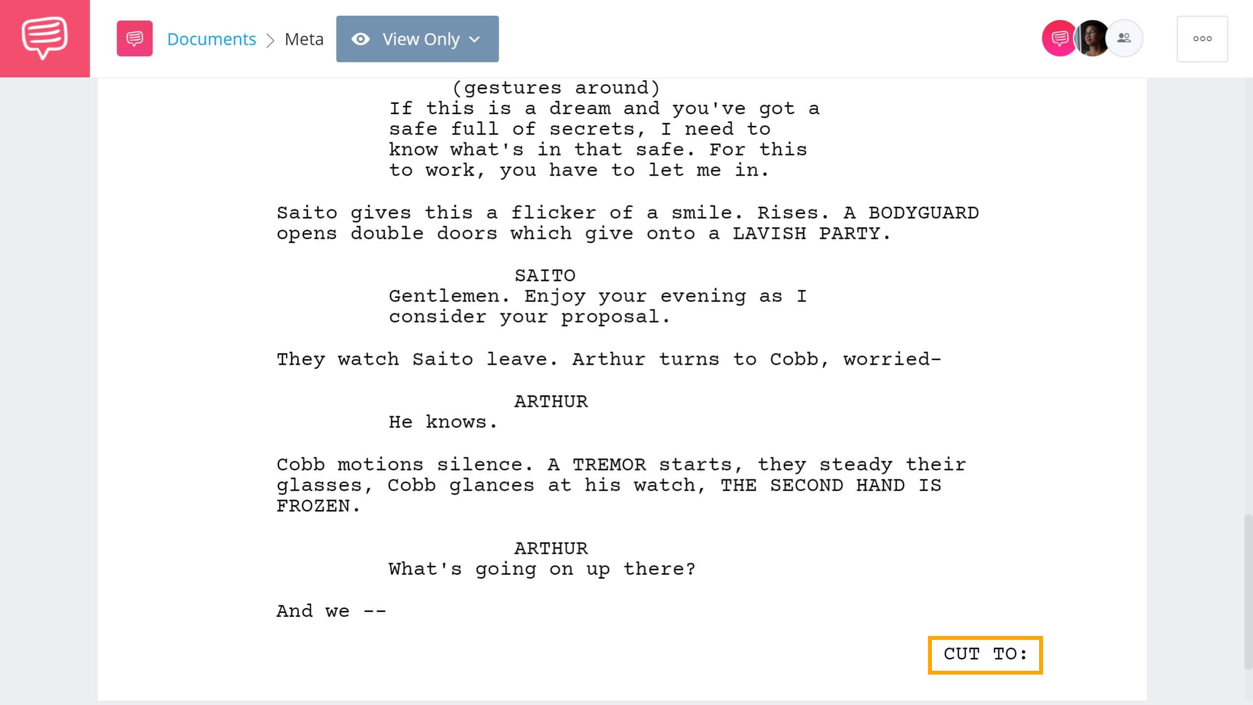 Screenwriting Terms - CUT TO Example - StudioBinder Screenwriting Software
