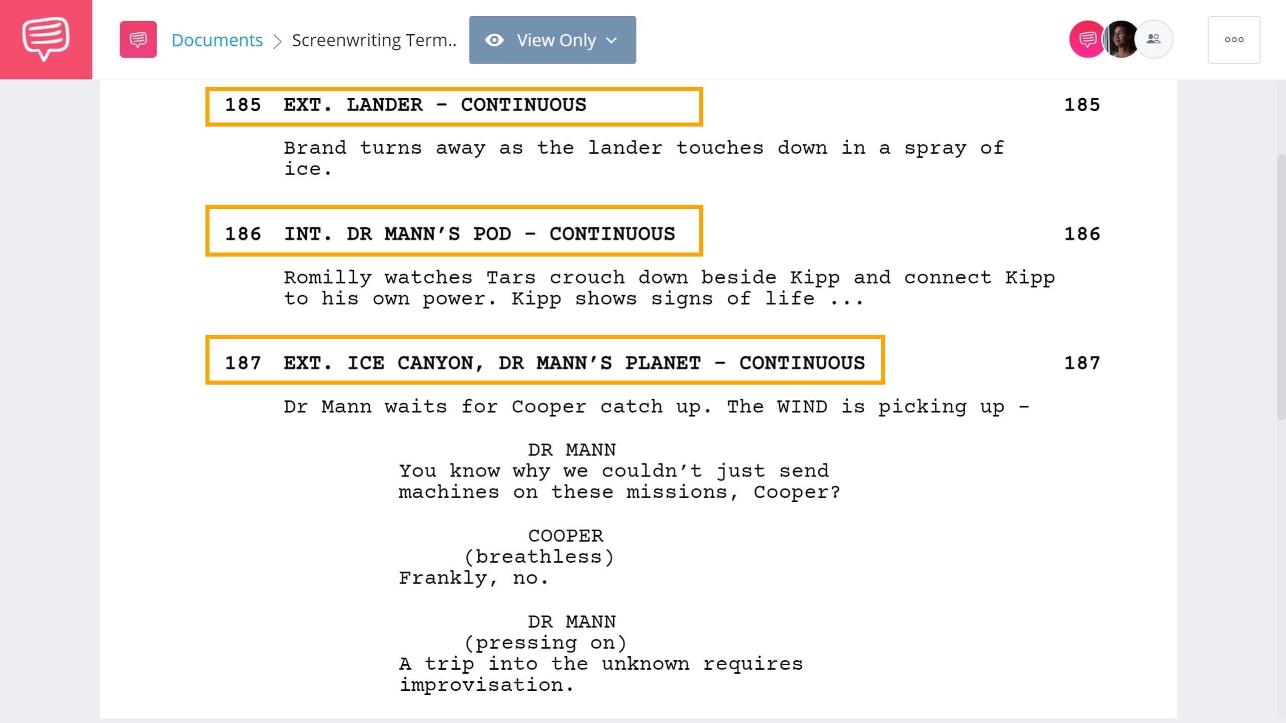 Screenwriting Terms - Continious Scene Example - StudioBinder Screenwriting Software