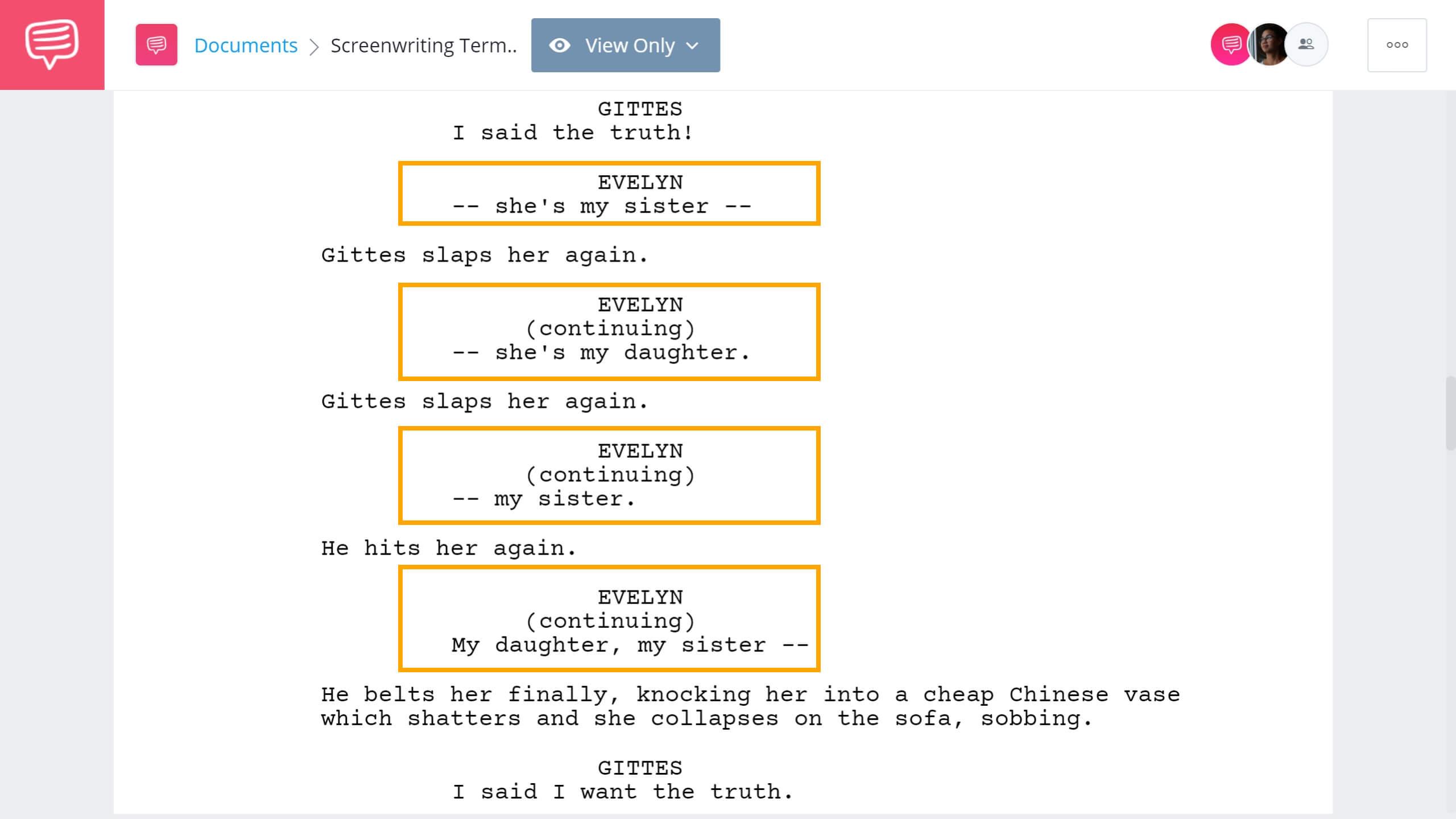 Screenwriting Terms - Dash Example - StudioBinder Screenwriting Software