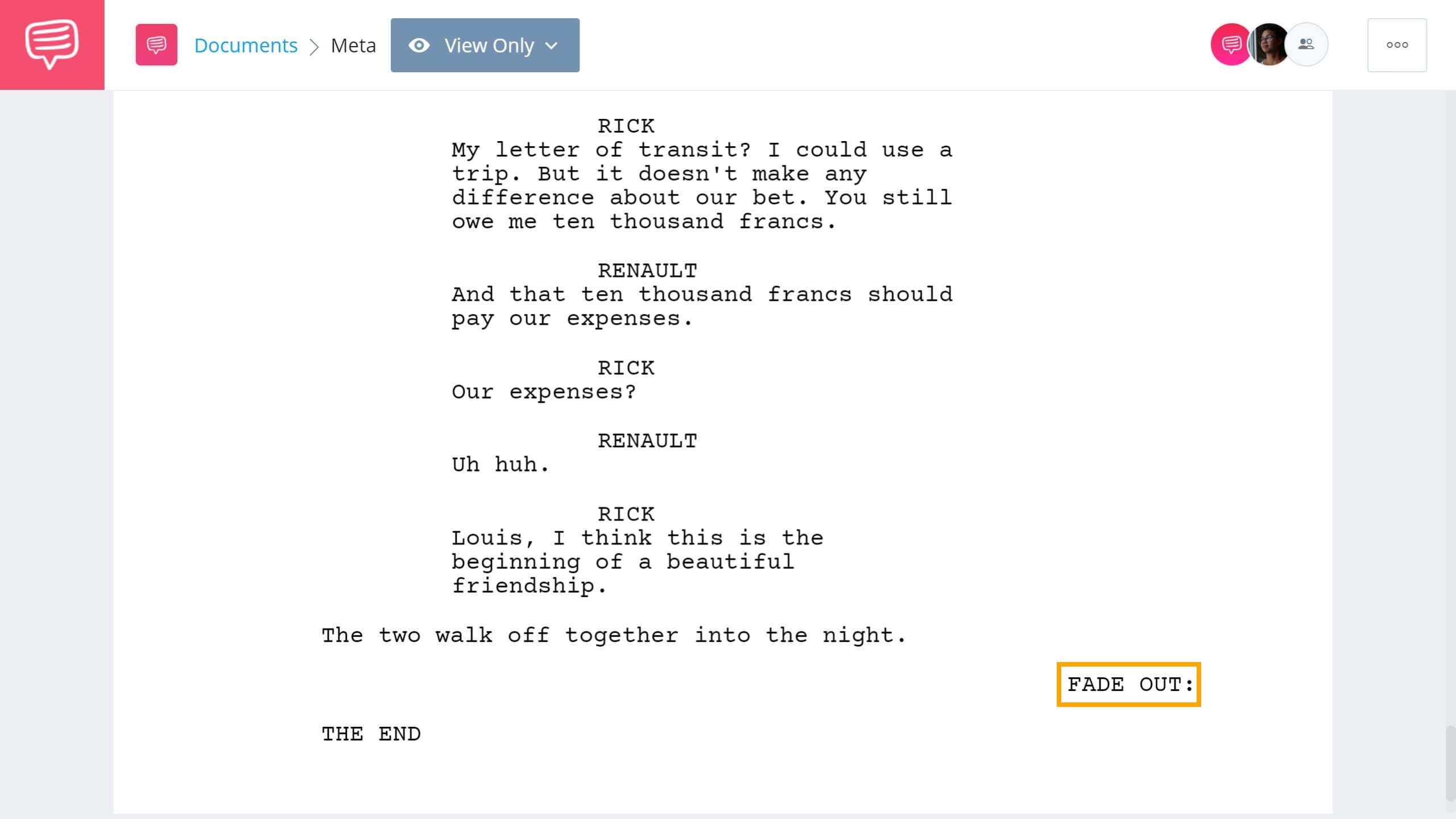 Screenwriting Terms - Fade Out Example - StudioBinder Screenwriting Software