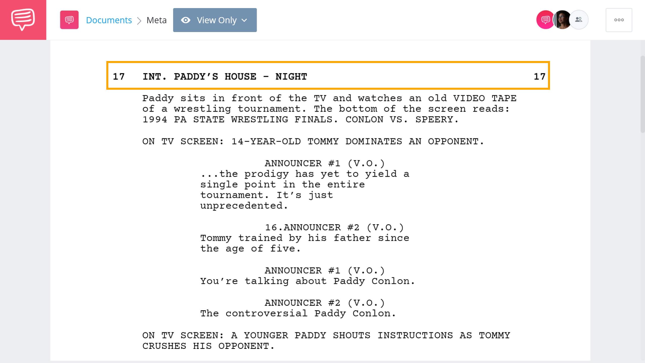 Screenwriting Terms - INT. Example - StudioBinder Screenwriting Software