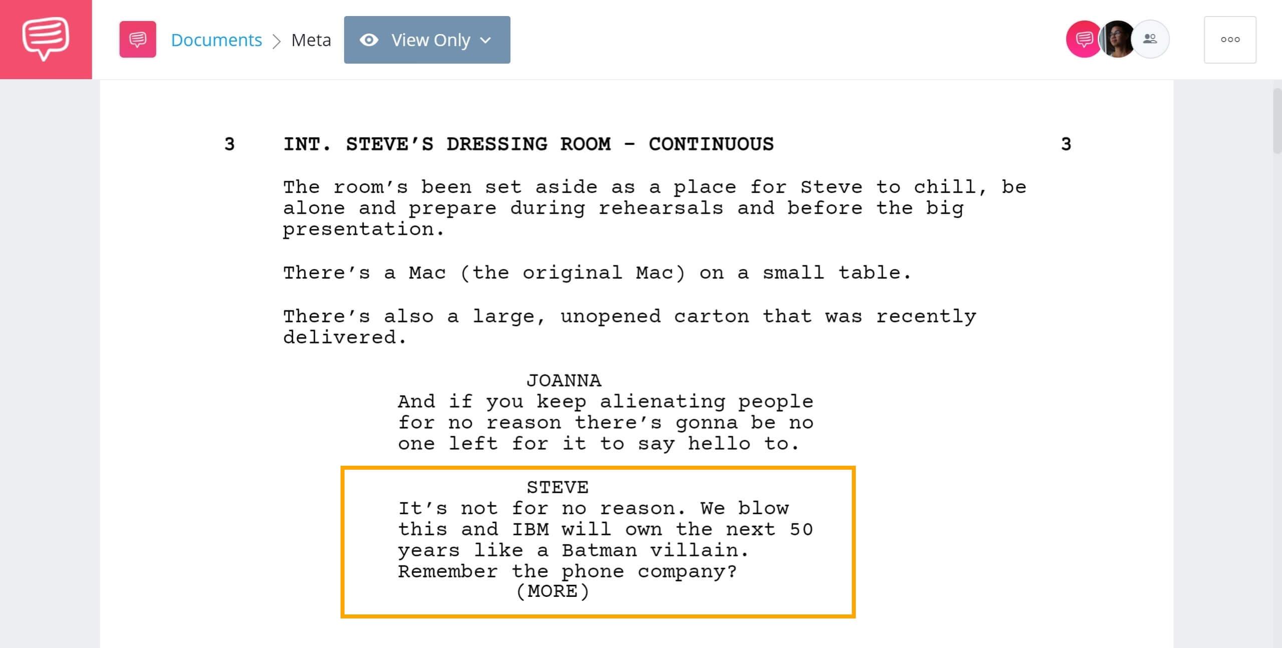 Screenwriting Terms - MORE. Example - StudioBinder Screenwriting Software
