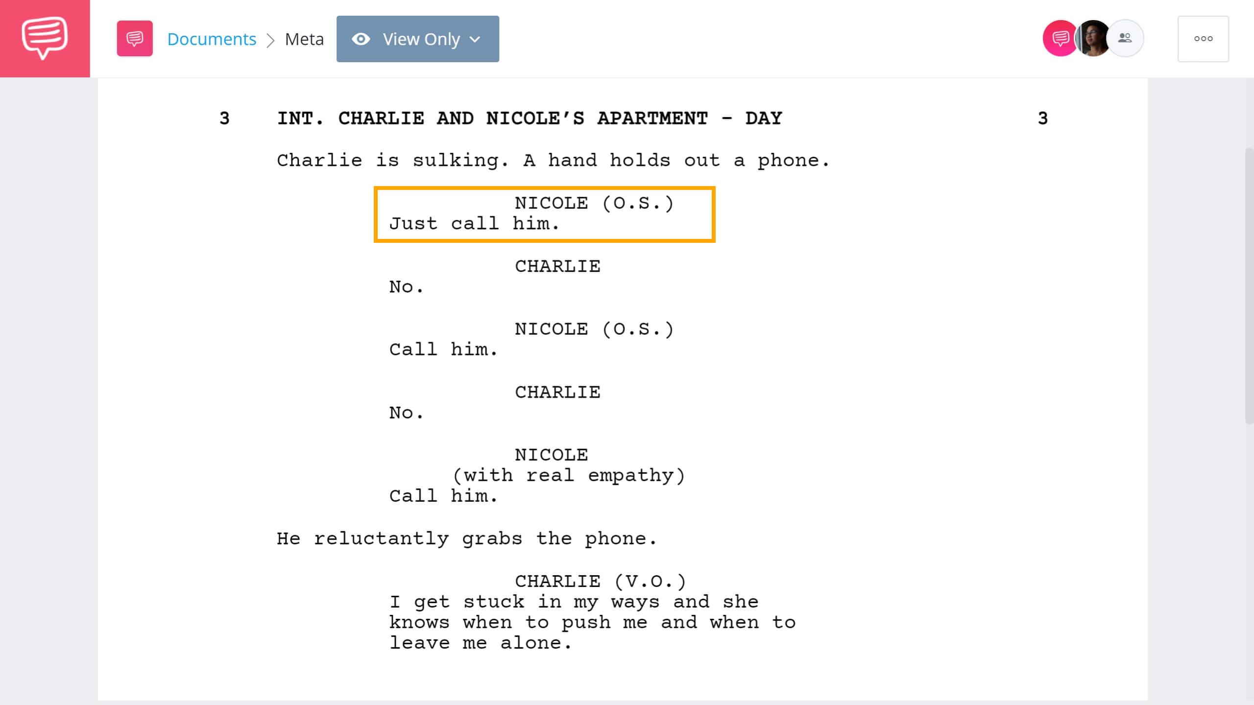 Screenwriting Terms - O.S. Example - StudioBinder Screenwriting Software