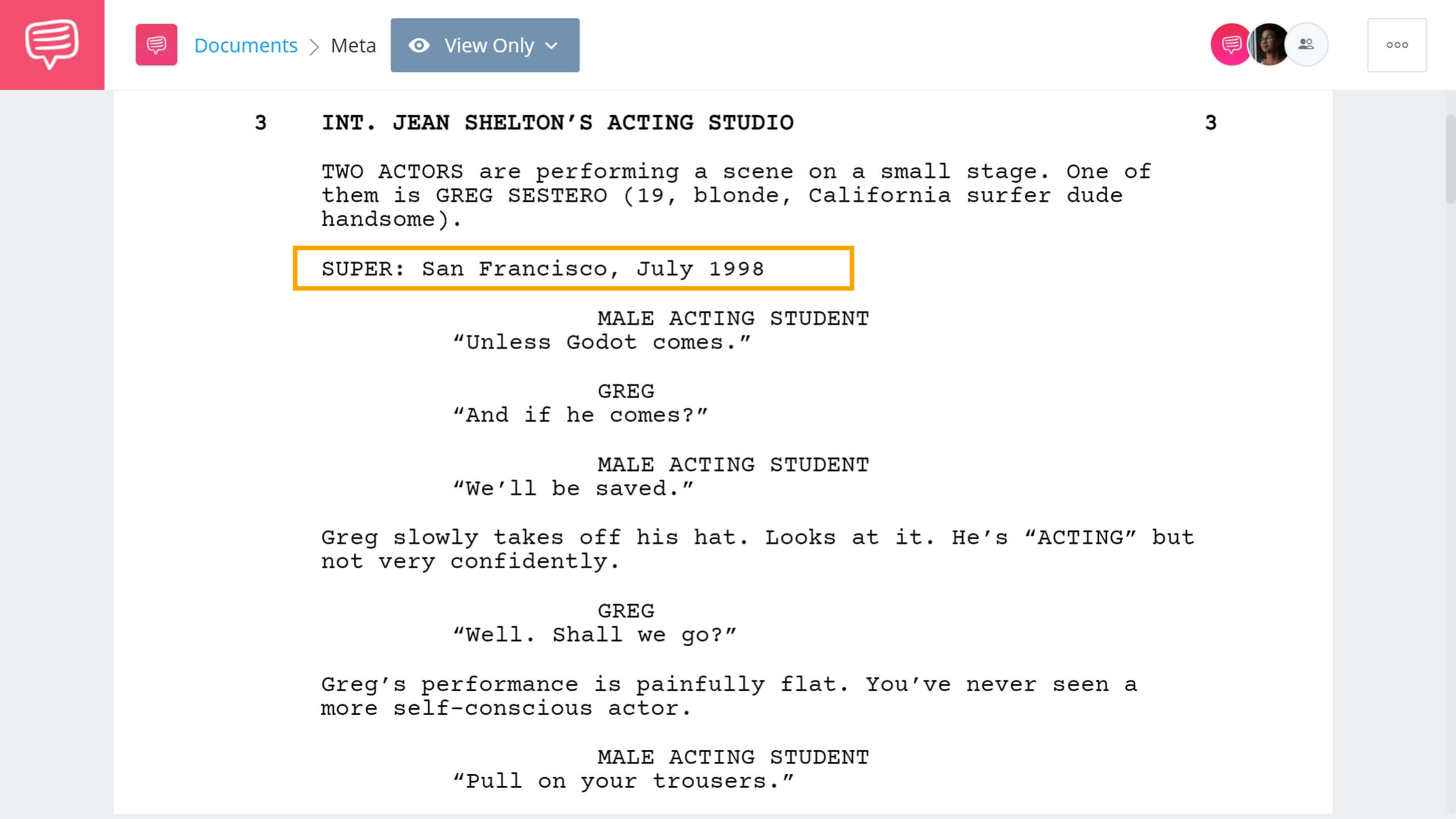 Screenwriting Terms - Super Example - StudioBinder Screenwriting Software