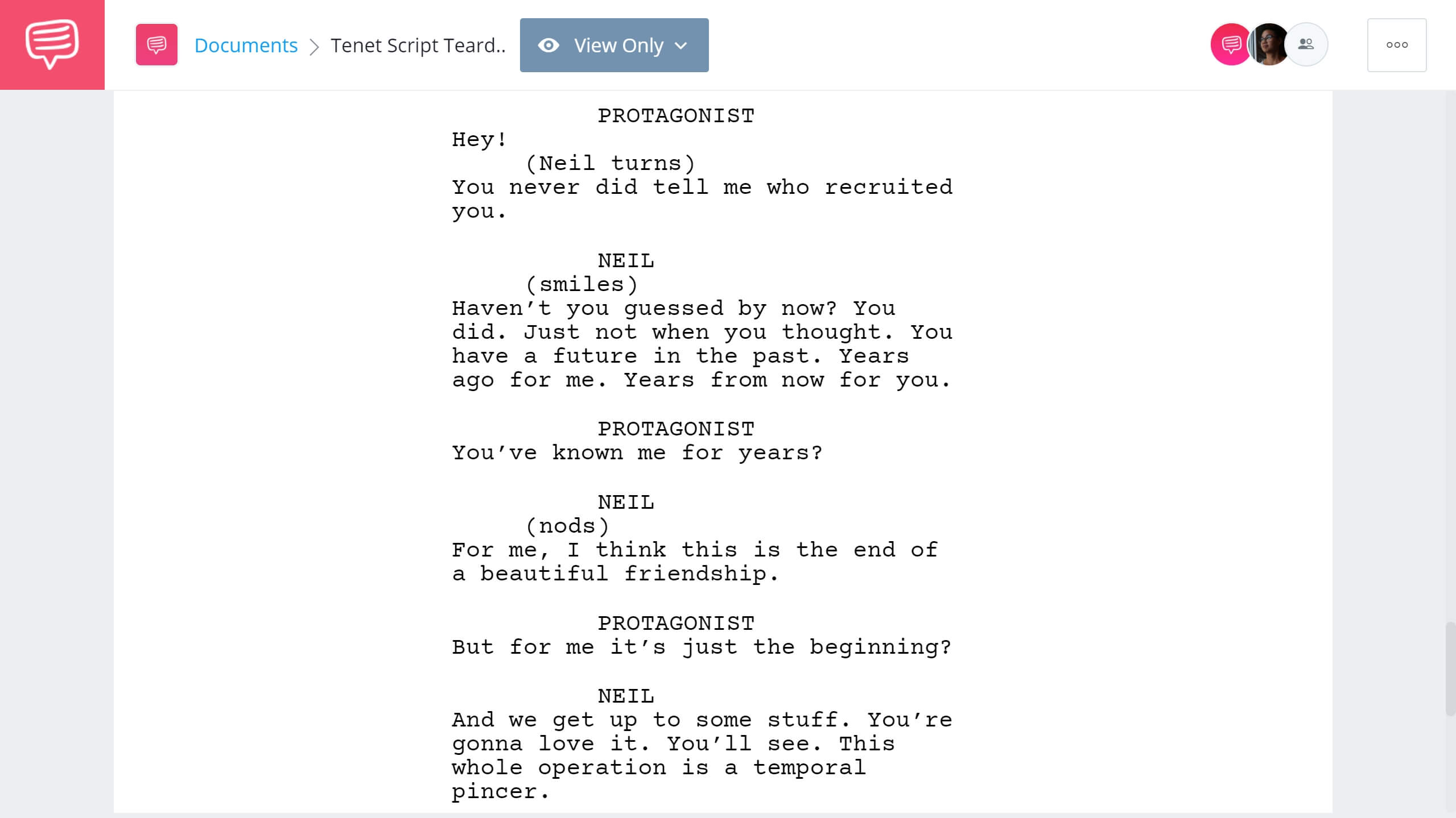 Tenet Script Teardown - Ending - StudioBinder Screenwriting Software
