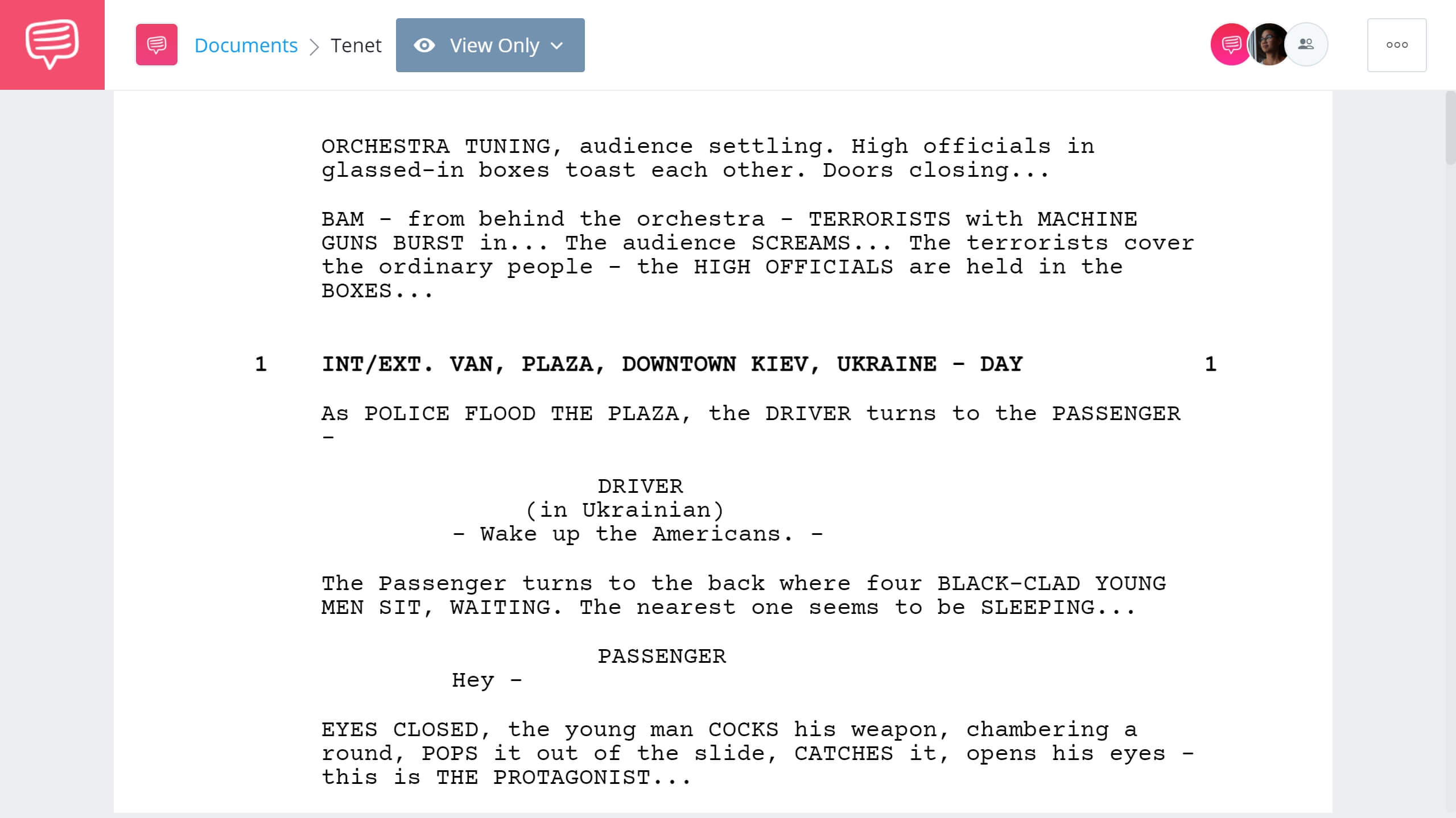 Tenet Script Teardown - Full Script PDF Download - StudioBinder Screenwriting Software