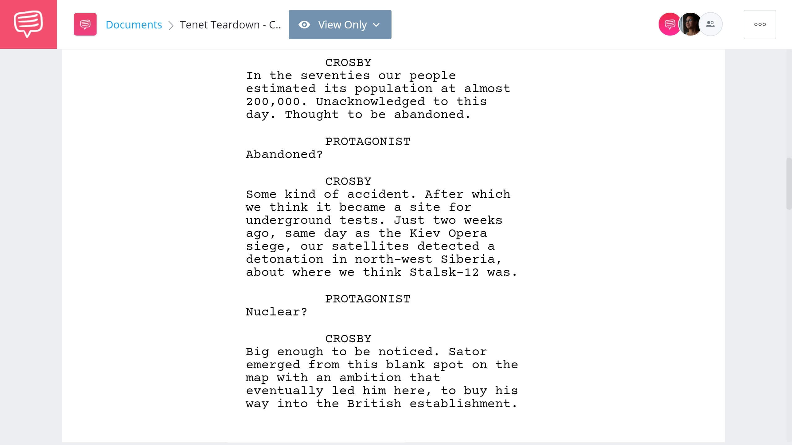 Tenet Script Teardown - Scene with a Crosby - StudioBinder Screenwriting Software