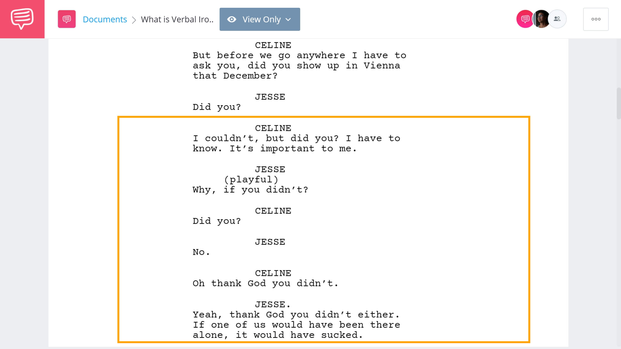 What is Verbal Irony - Before Sunset Example - StudioBinder Screenwriting Software
