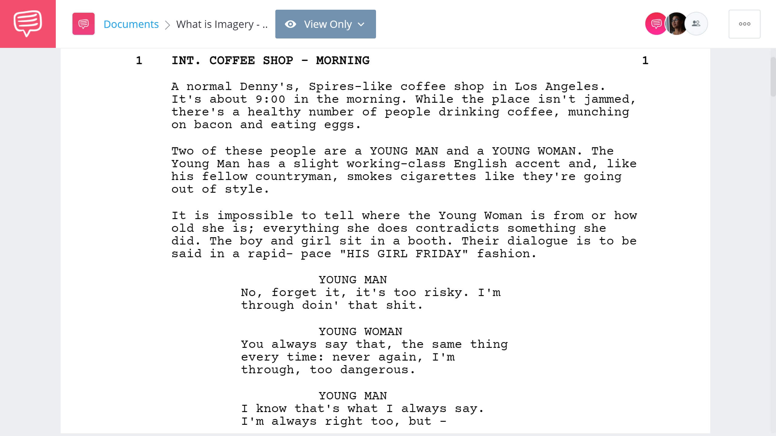 What is Imagery - Pulp Fiction Example - StudioBinder Screenwriting Software