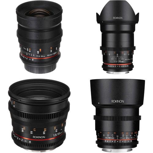 Best Canon Camera Lenses • Rokinon 24, 35, 50, 85mm T1.5 Cine DS Lens Bundle
