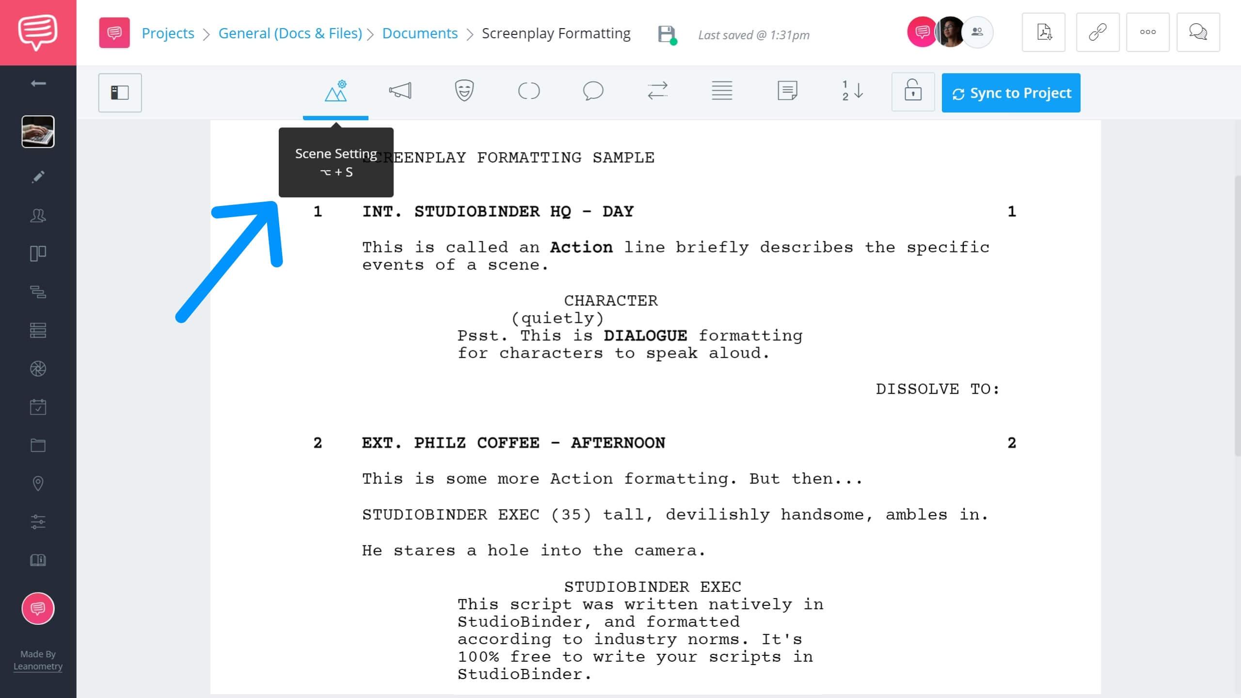 Best Screenwriting Contests - Scene Settings Example - StudioBinder Screenwriting Software