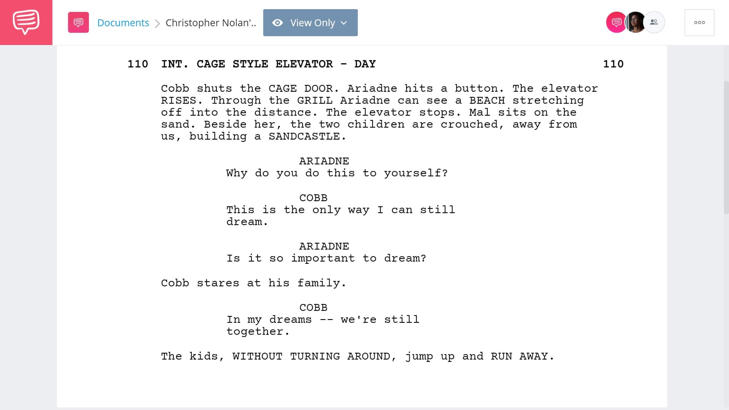 Christopher Nolan Writing Process - Inception Script Example - StudioBinder Screenwriting Software