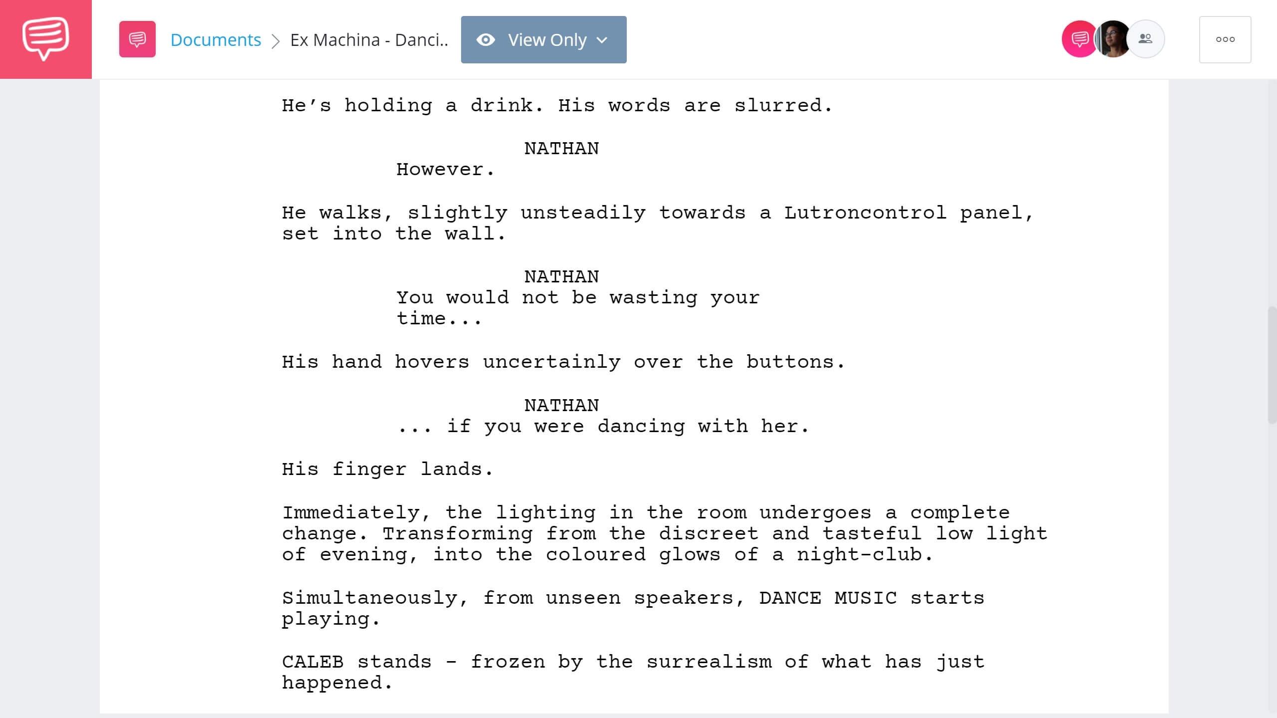 Ex Machina Script Teardown - Dance Scene - StudioBinder Screenwriting Software