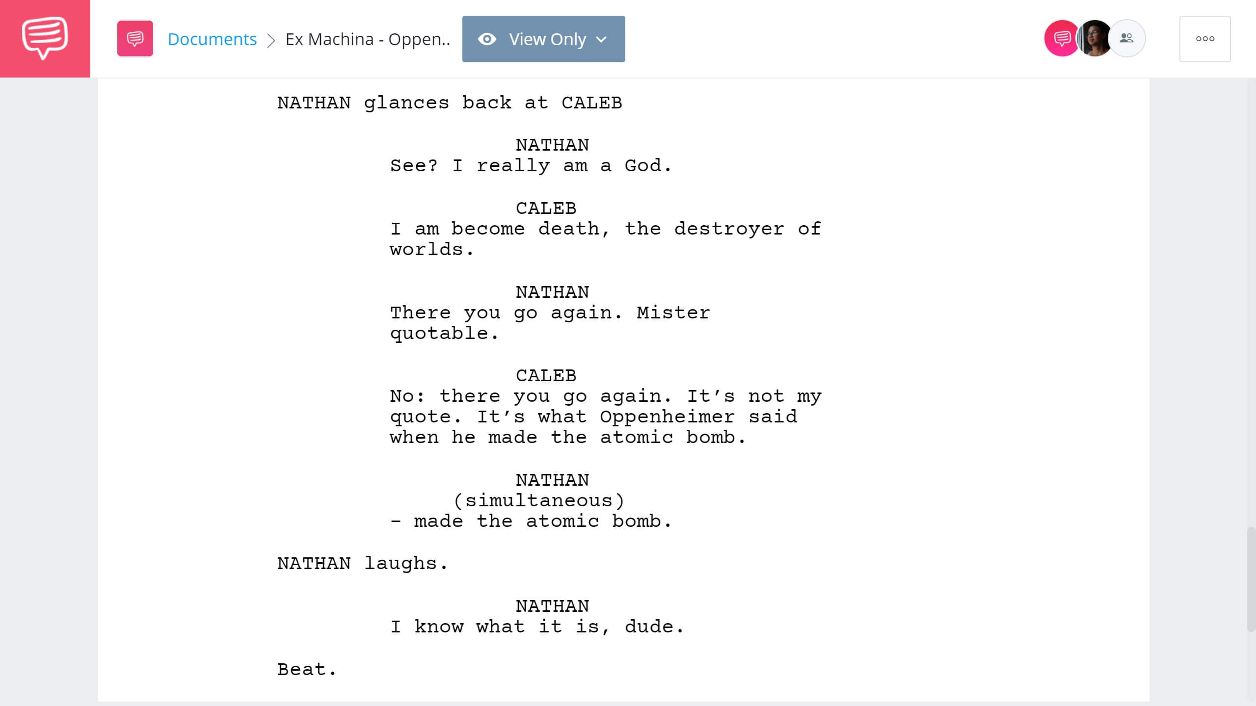 Ex Machina Script Teardown - Oppeheimer Scene - StudioBinder Screenwriting Software