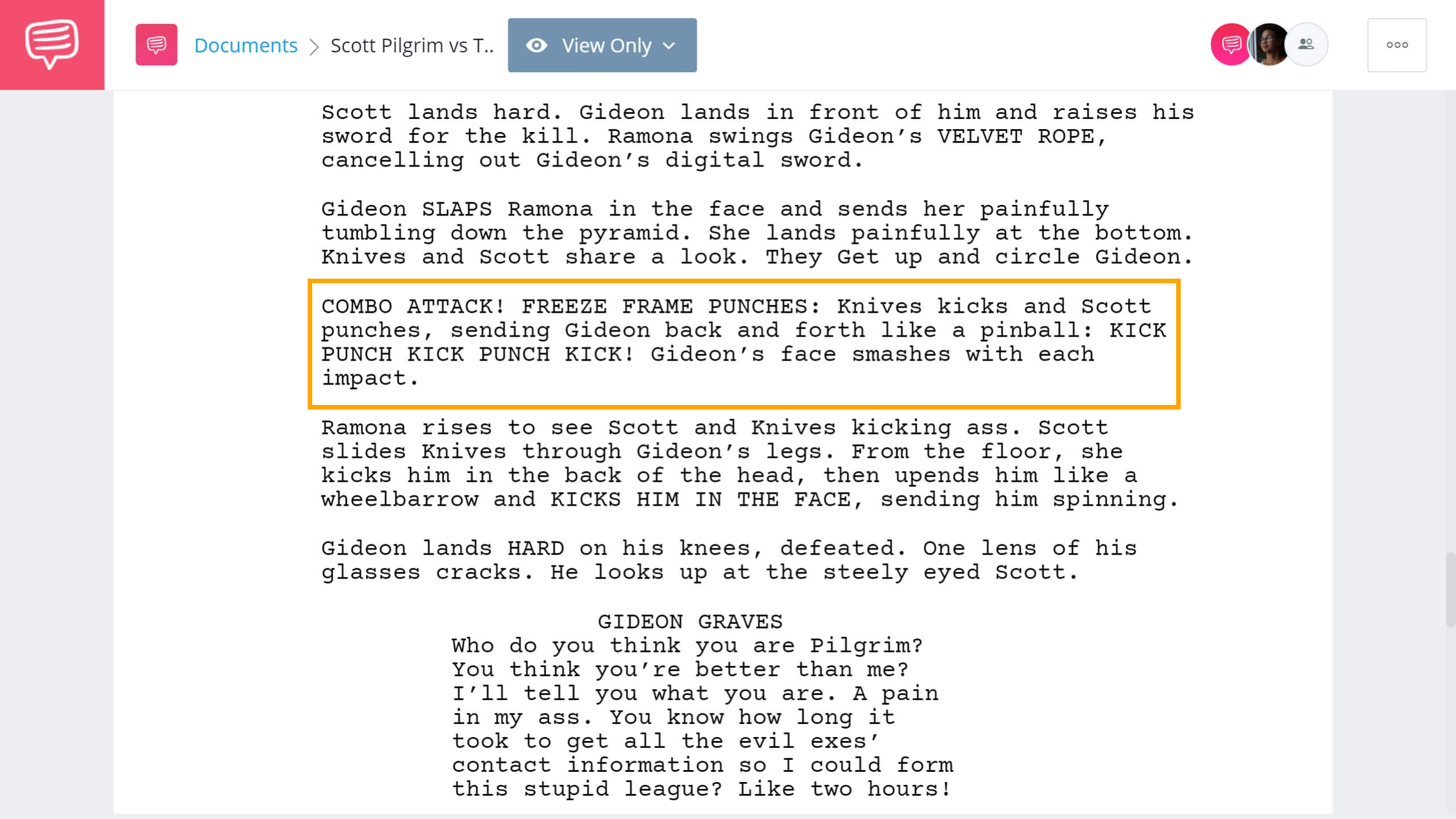 Scott Pilgrim vs The World Script Teardown - Combo Attack Scene - StudioBinder Screenwriting Software