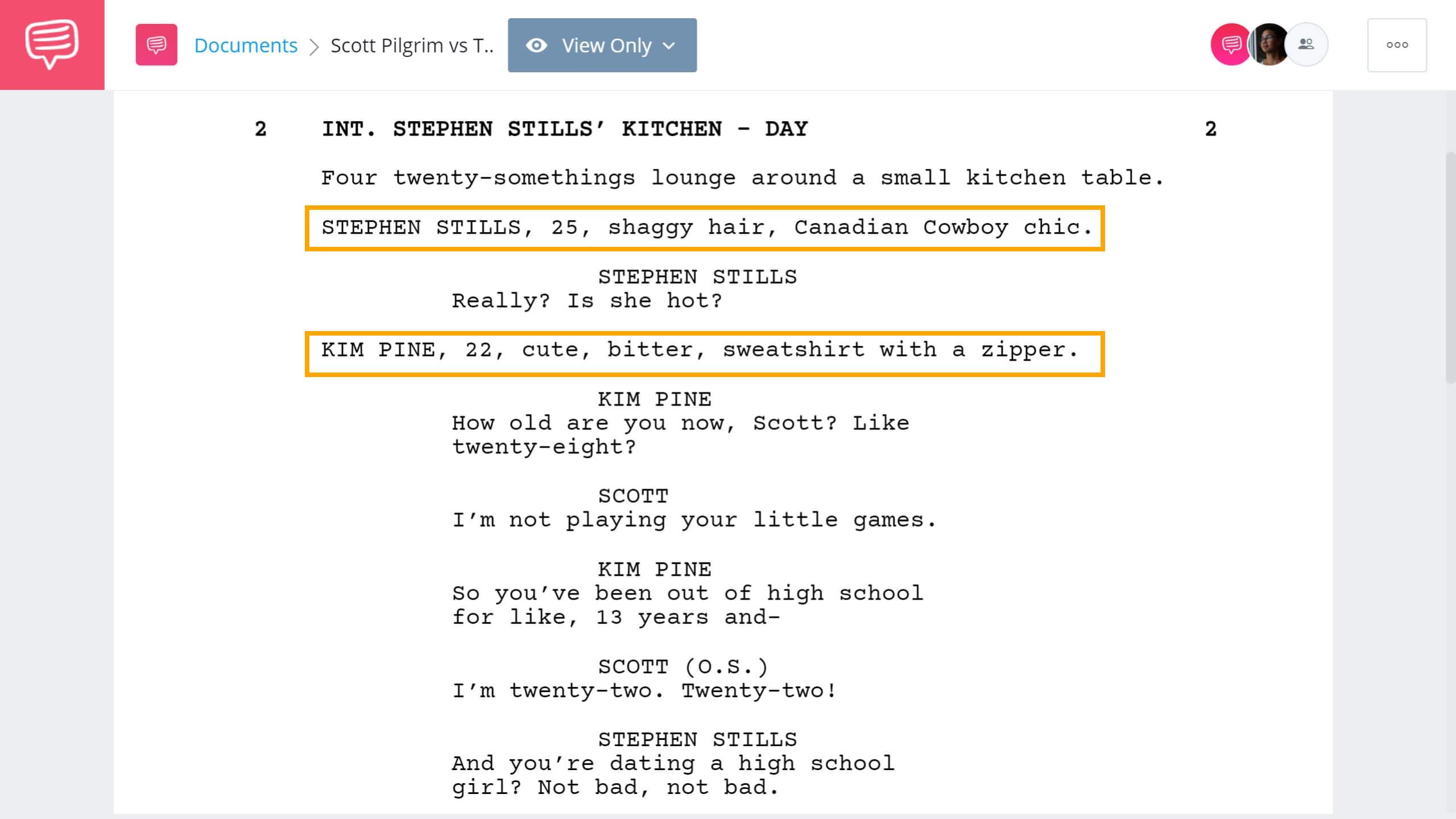 Scott Pilgrim vs The World Script Teardown - Introducing Characters- StudioBinder Screenwriting Software