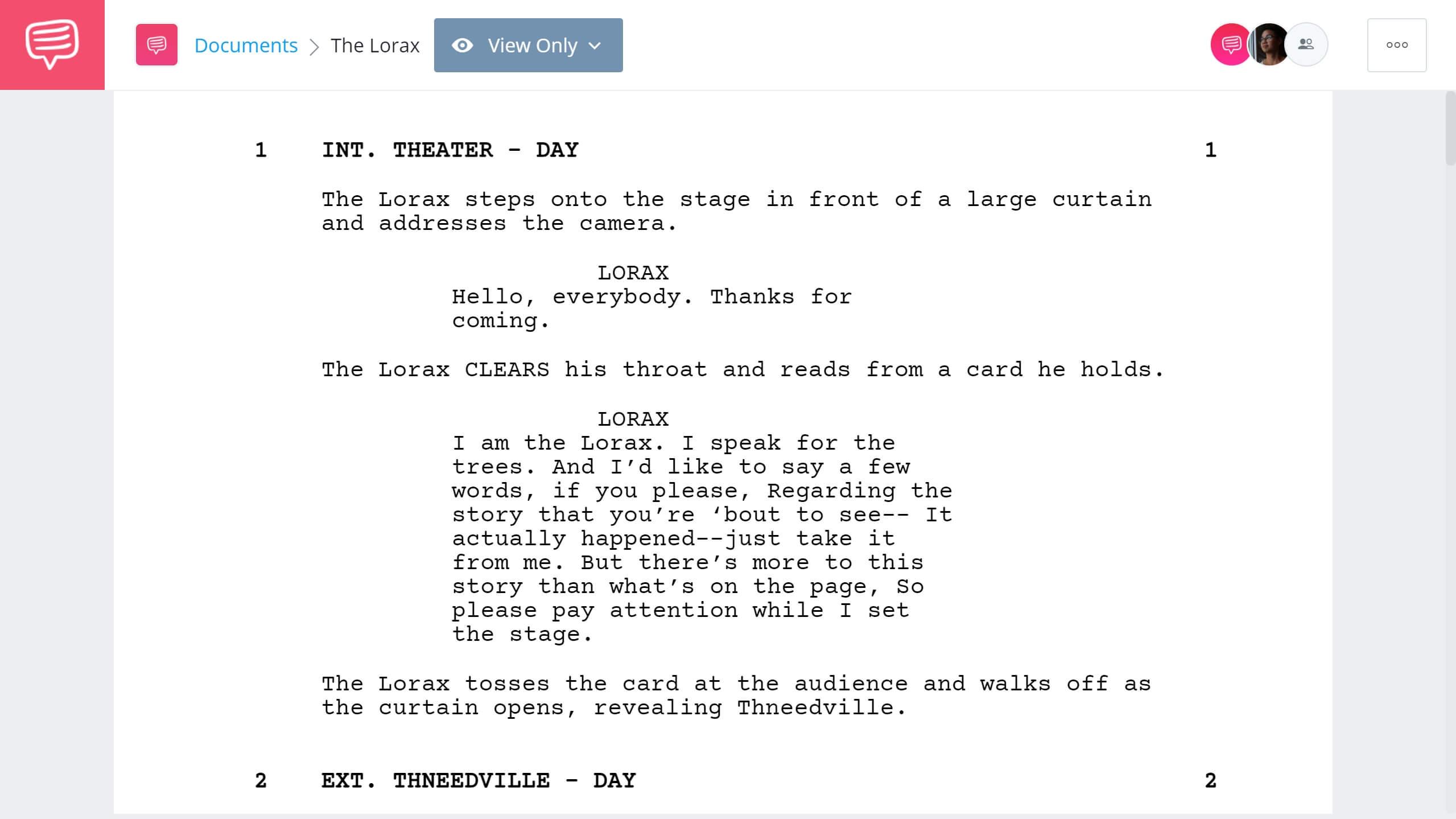 The Lorax Script Teardown - Full Script PDF Download - StudioBinder Screenwriting Software