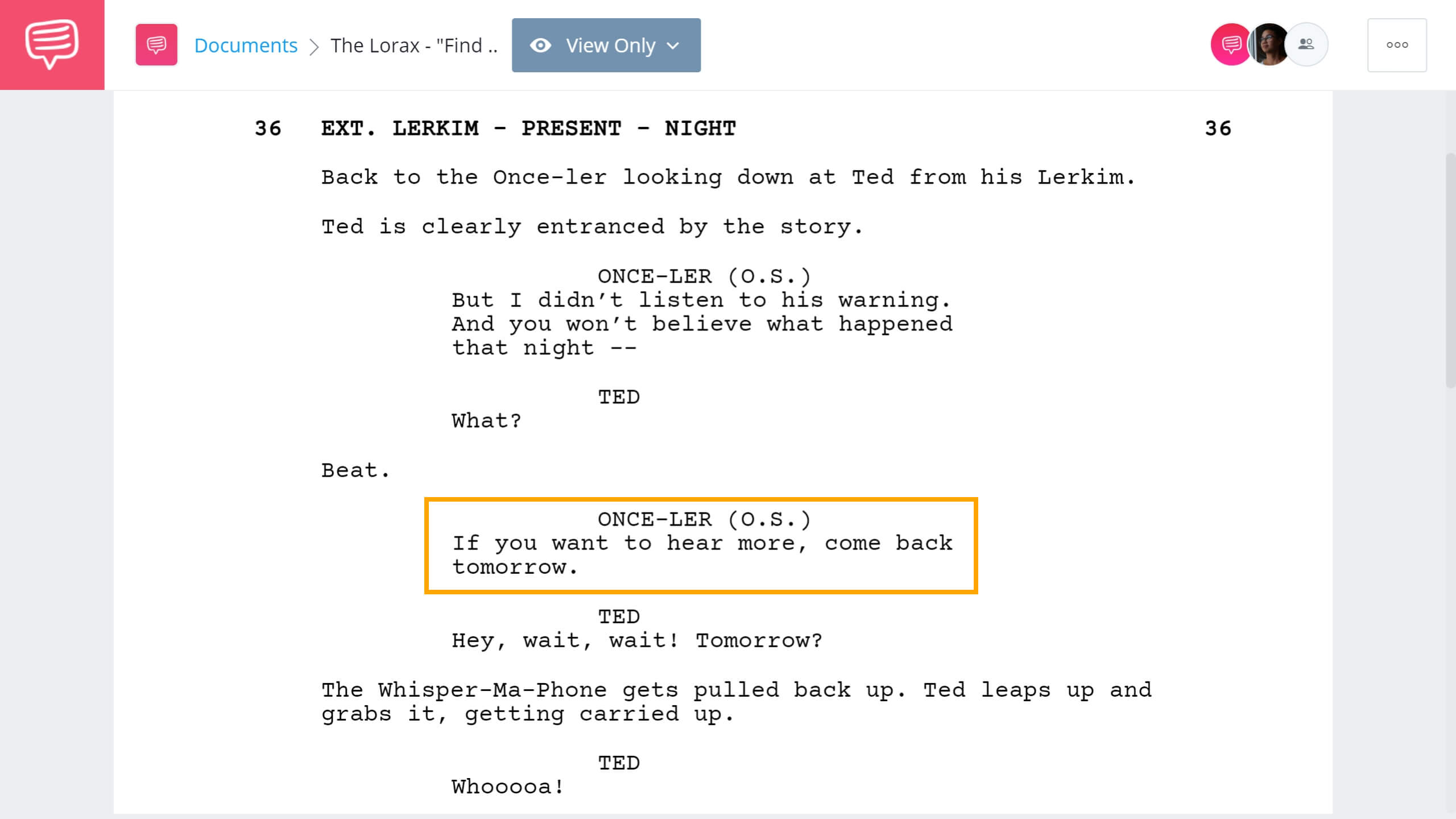 The Lorax Script Teardown - Lorax Emotional Scene - StudioBinder Screenwriting Software