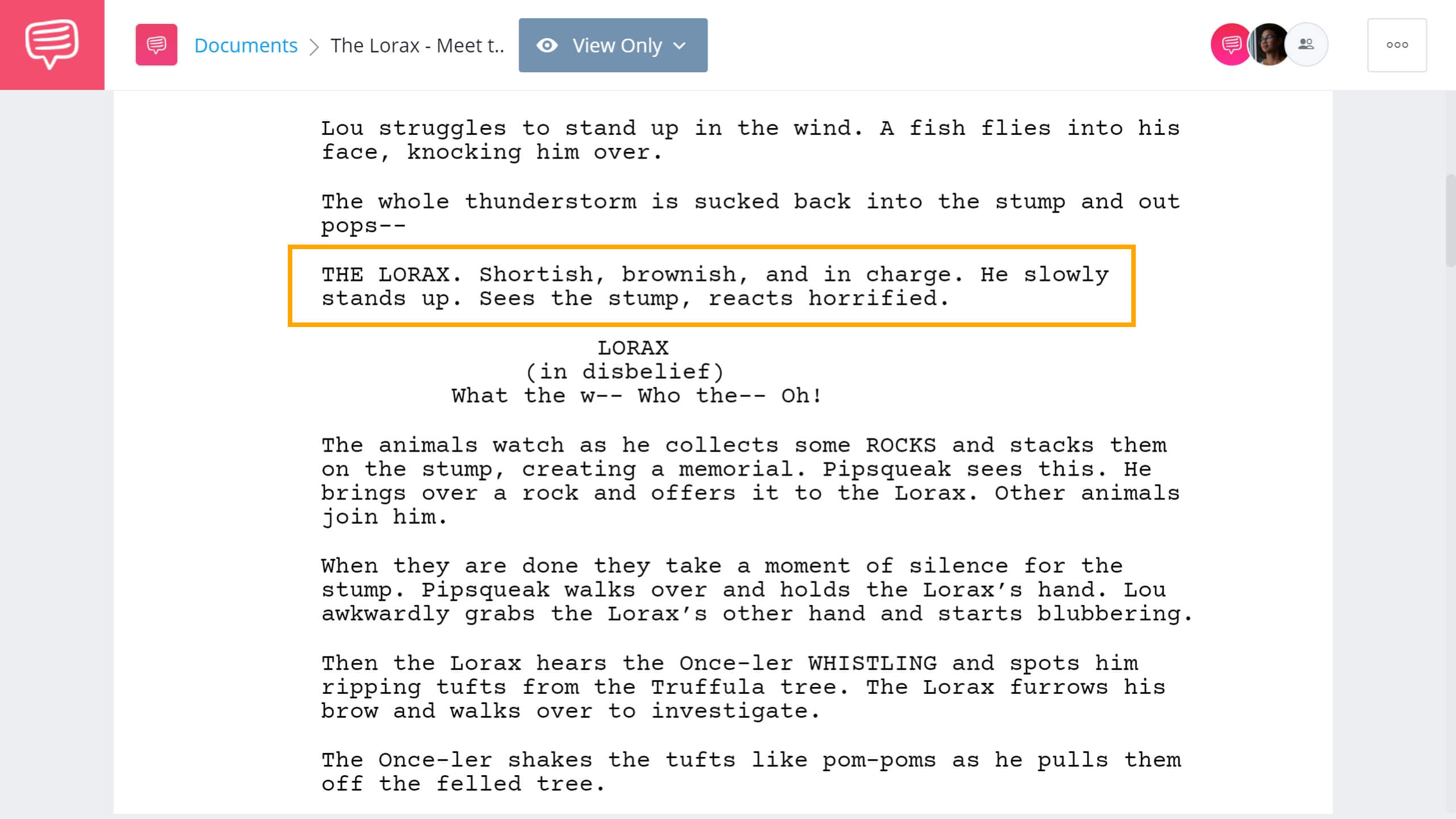 The Lorax Script Teardown - Lorax Introduction - StudioBinder Screenwriting Software