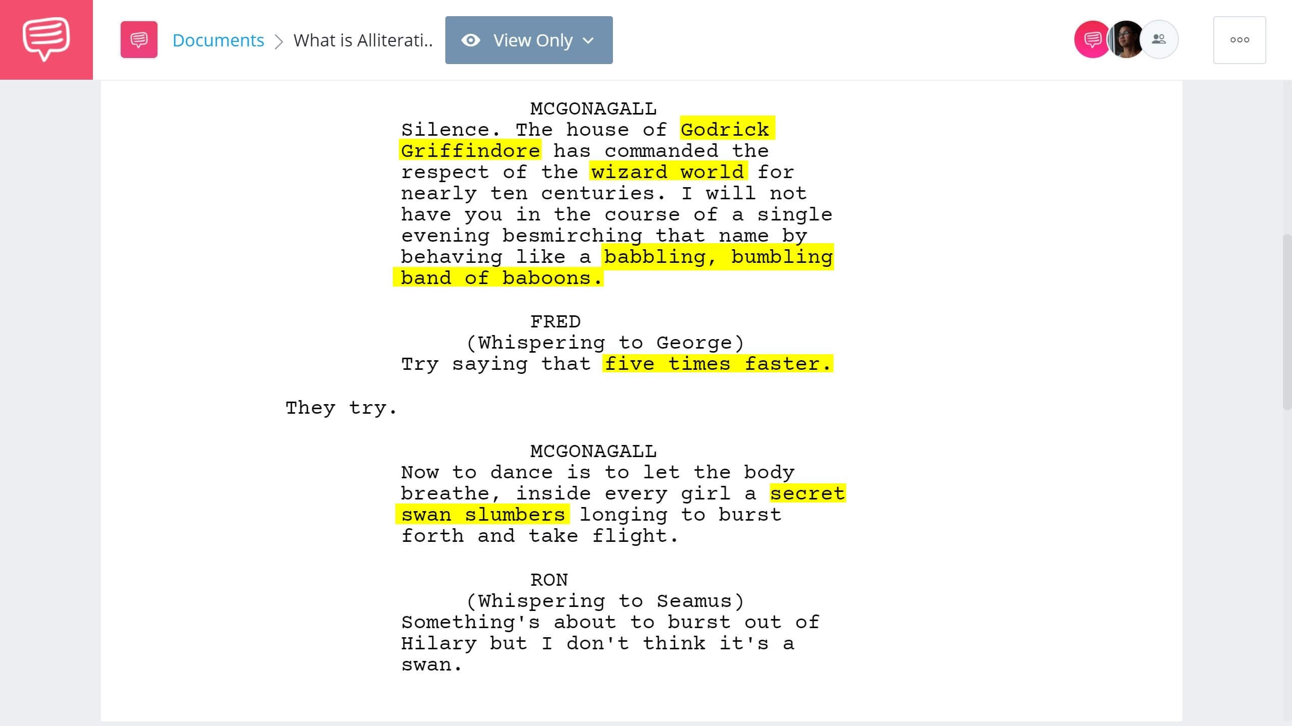 What is Alliteration - Harry Potter and the Goblet of Fire Alliteration Example - StudioBinder Screenwriting Software