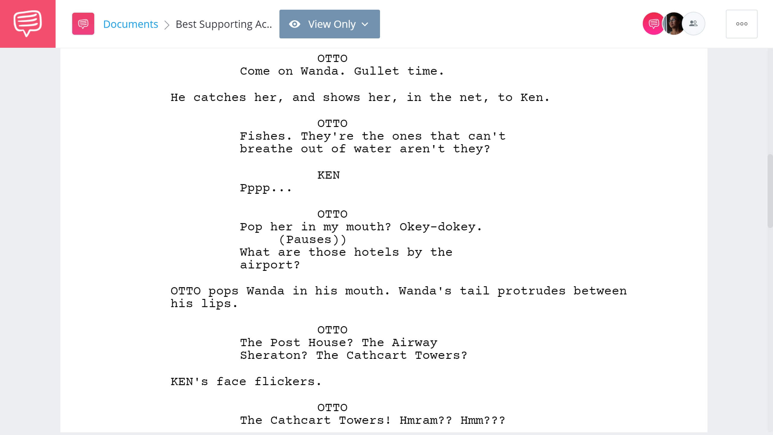 Academy Award for Best Supporting Actor A Fish Called Wanda Excerpt StudioBinder Screenwriting Software