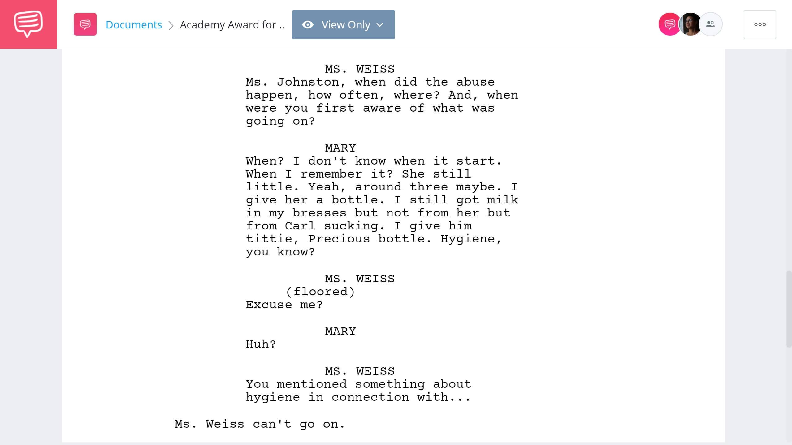 Academy Award for Best Supporting Actress Precious Example StudioBinder Screenwriting Software