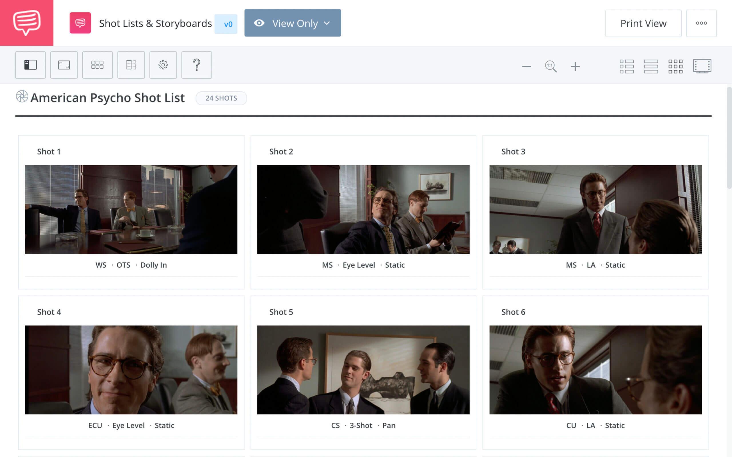 American Psycho Business Card Scene Business Card Scene StudioBinder Shot Listing Software