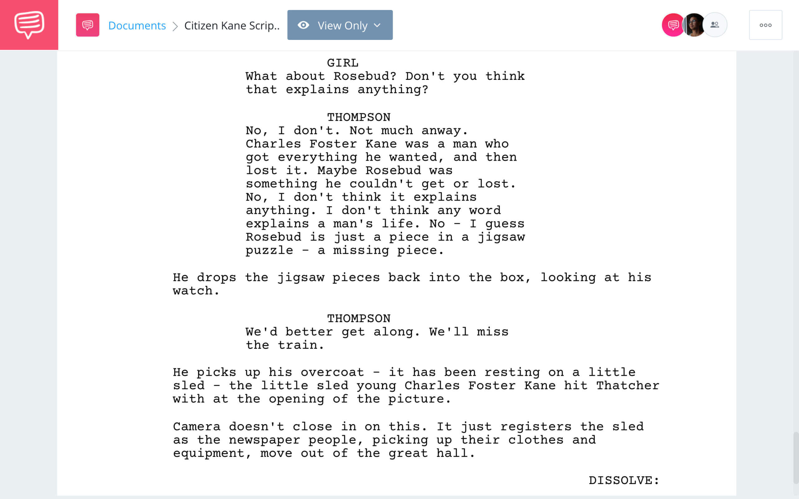 Citizen Kane Script Teardown Ending StudioBinder Screenwriting Software