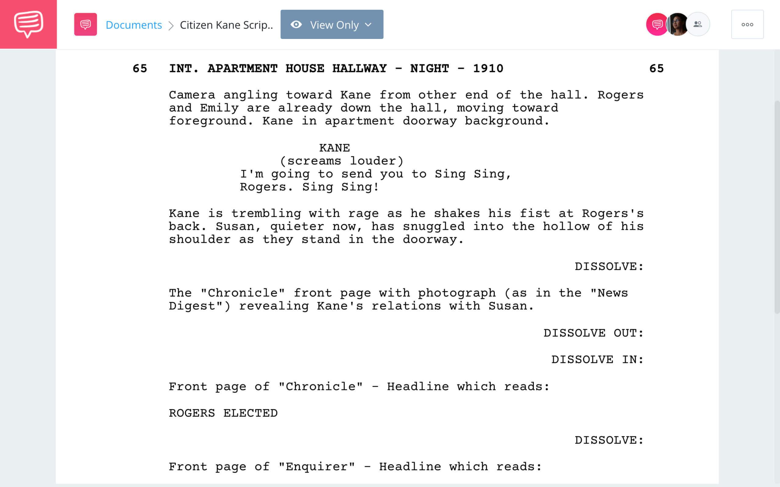 Citizen Kane Script Teardown Kane vs Boss StudioBinder Screenwriting Software