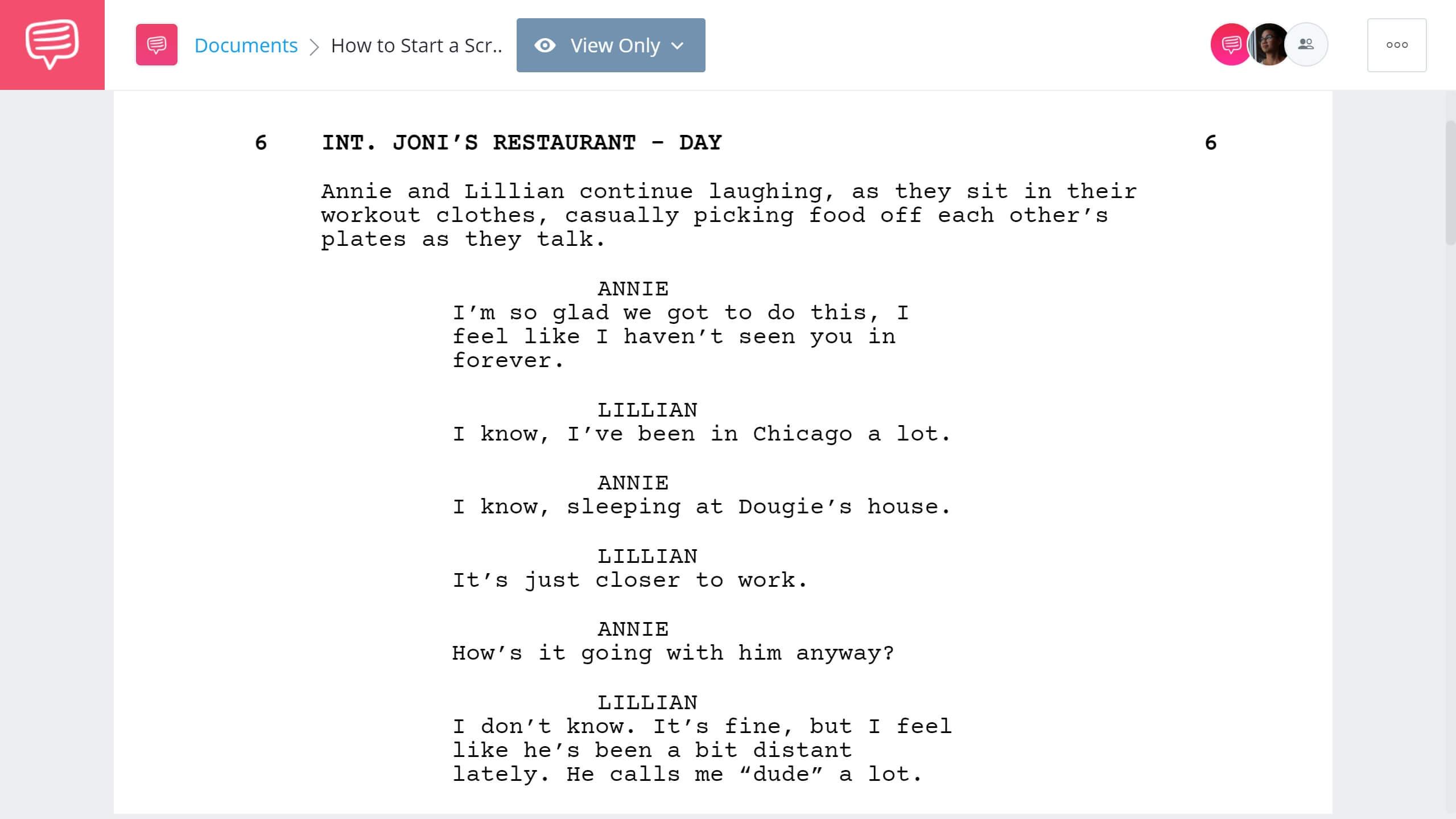 How to Start a Script Bridesmaids Dialogue Example StudioBinder Screenwriting Software