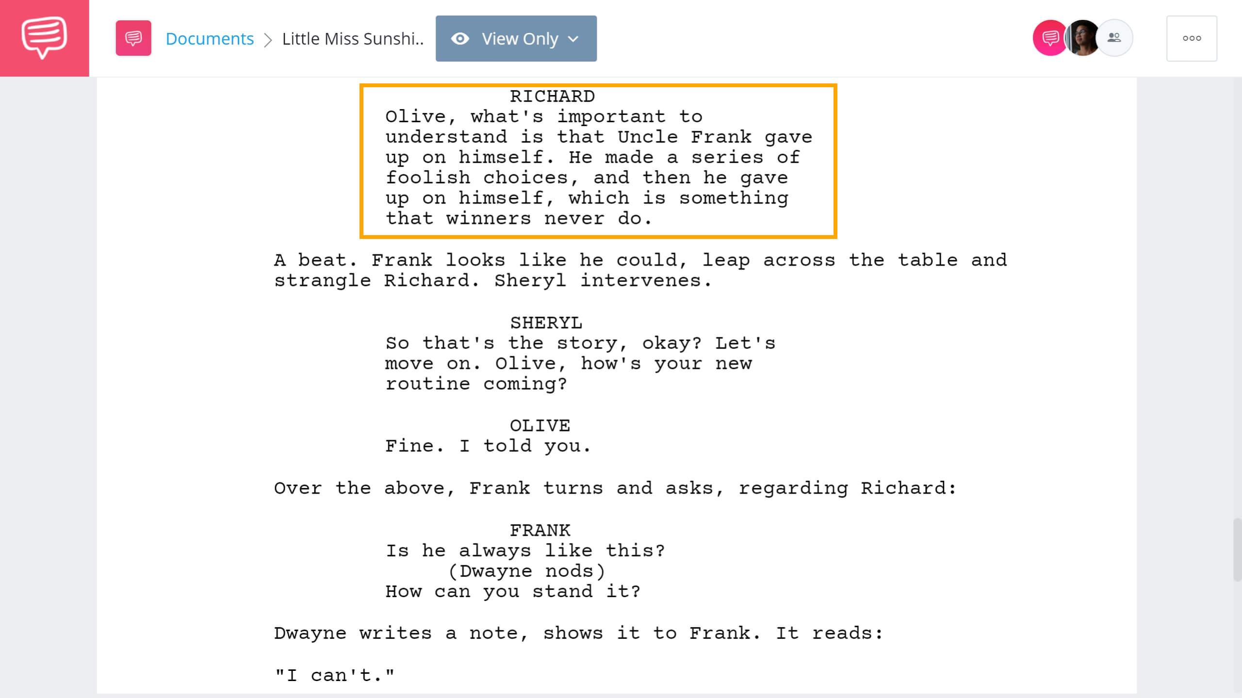 Little Miss Sunshine Script Teardown Family Dinner StudioBinder Screenwriting Software