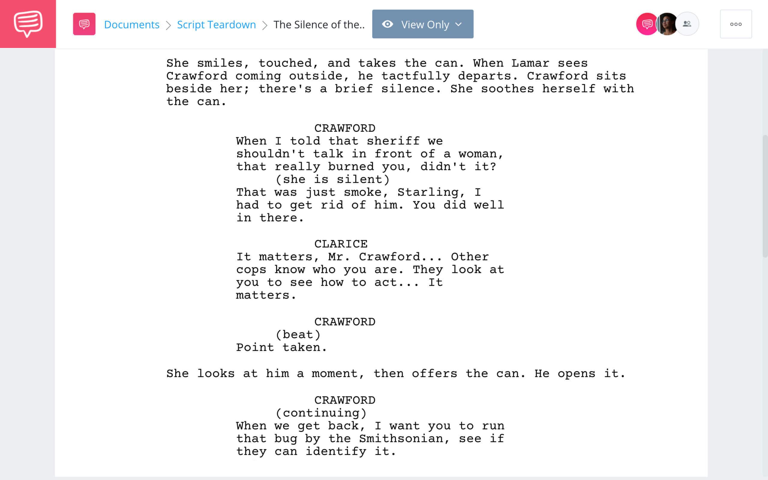 The Silence of the Lambs Script Teardown Characters StudioBinder Screenwriting Software