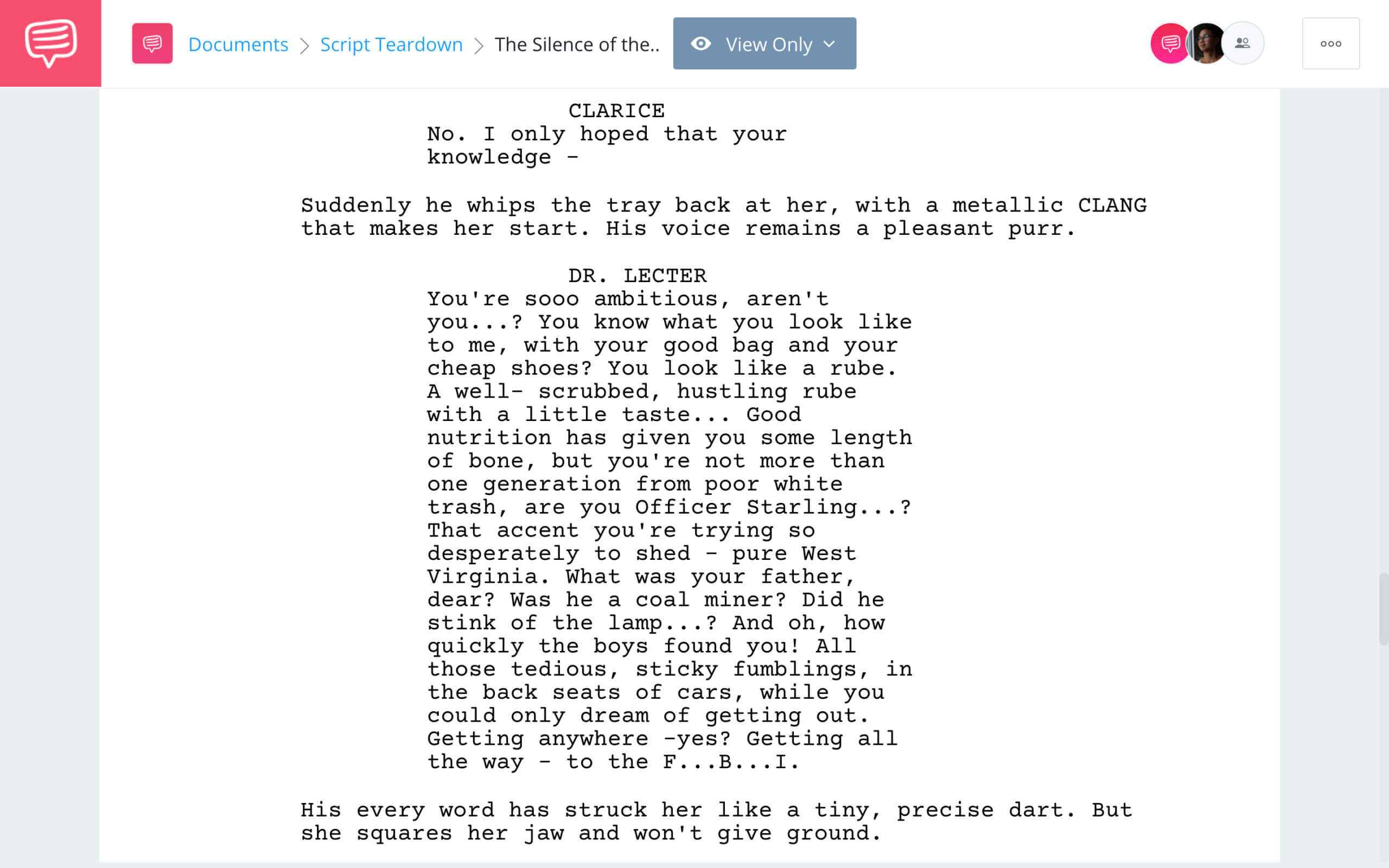 The Silence of the Lambs Script Teardown Quotes StudioBinder Screenwriting Software