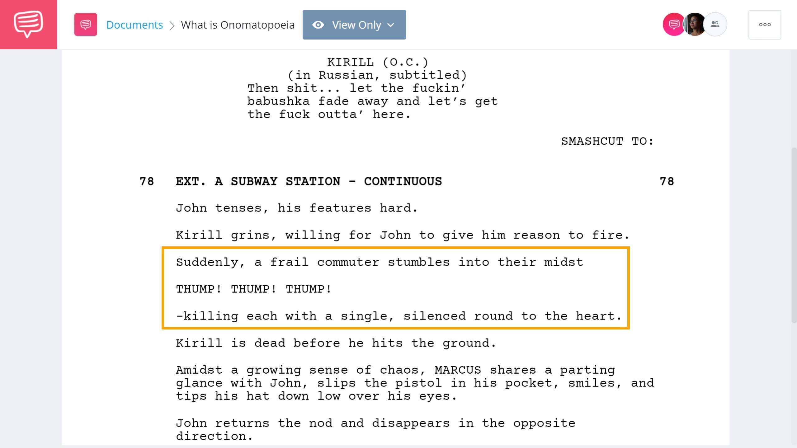 What is Onomatopoeia John Wick Example StudioBinder Screenwriting Software