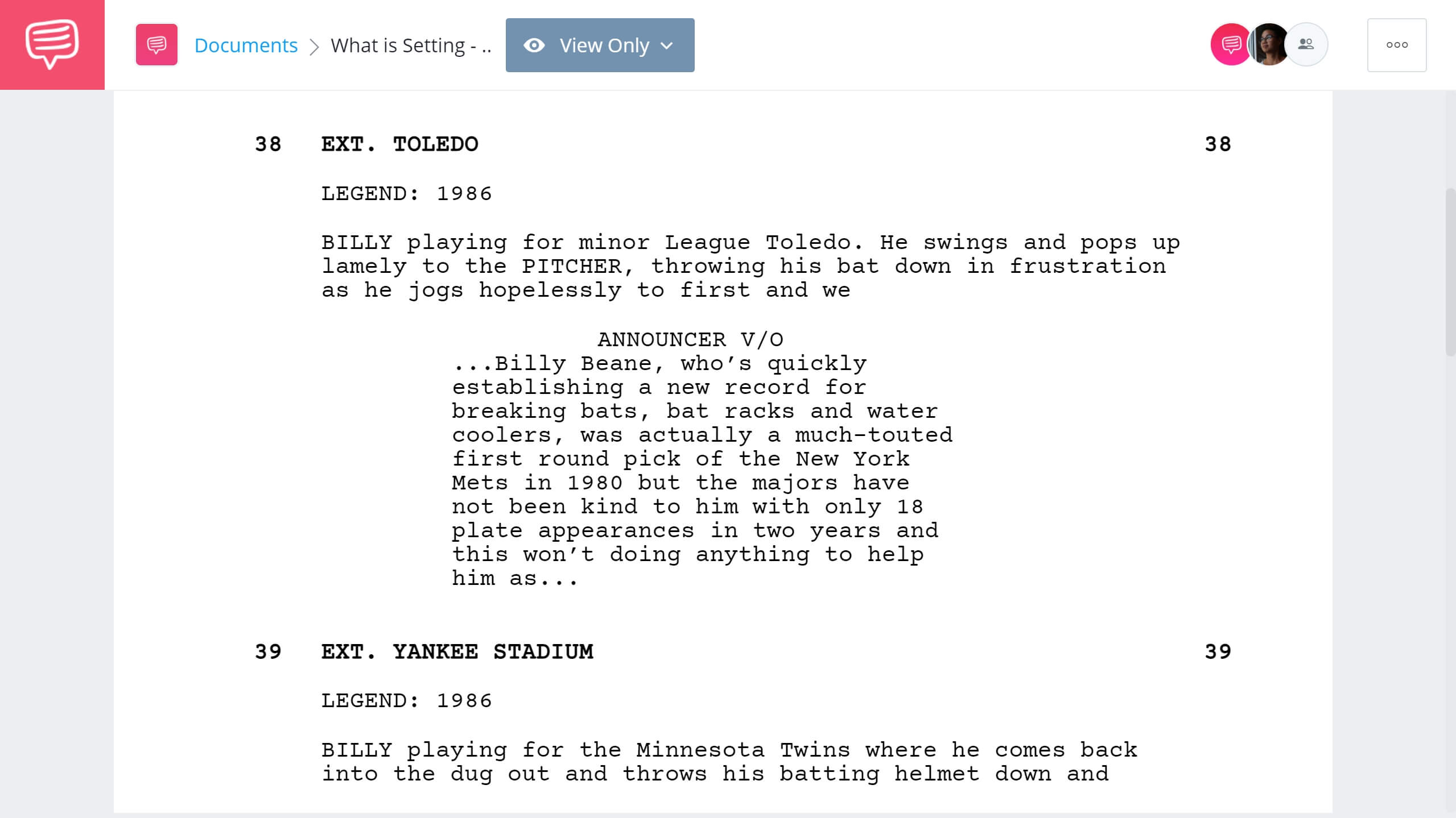 What is Setting Moneyball Second Example StudioBinder Screenwriting Software
