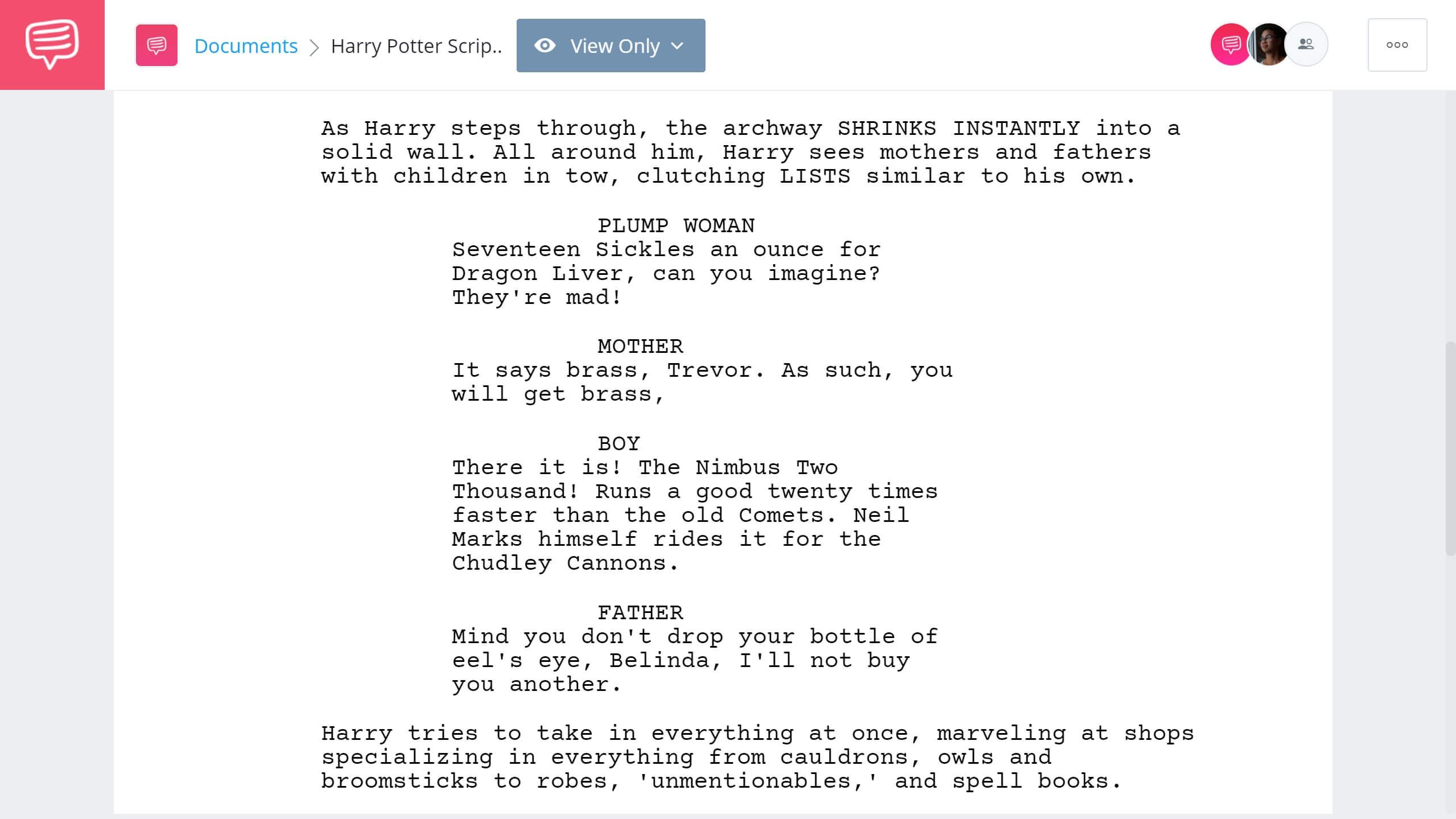 Harry Potter Script Teardown Diagon Alley Scene StudioBinder Screenwriting Software
