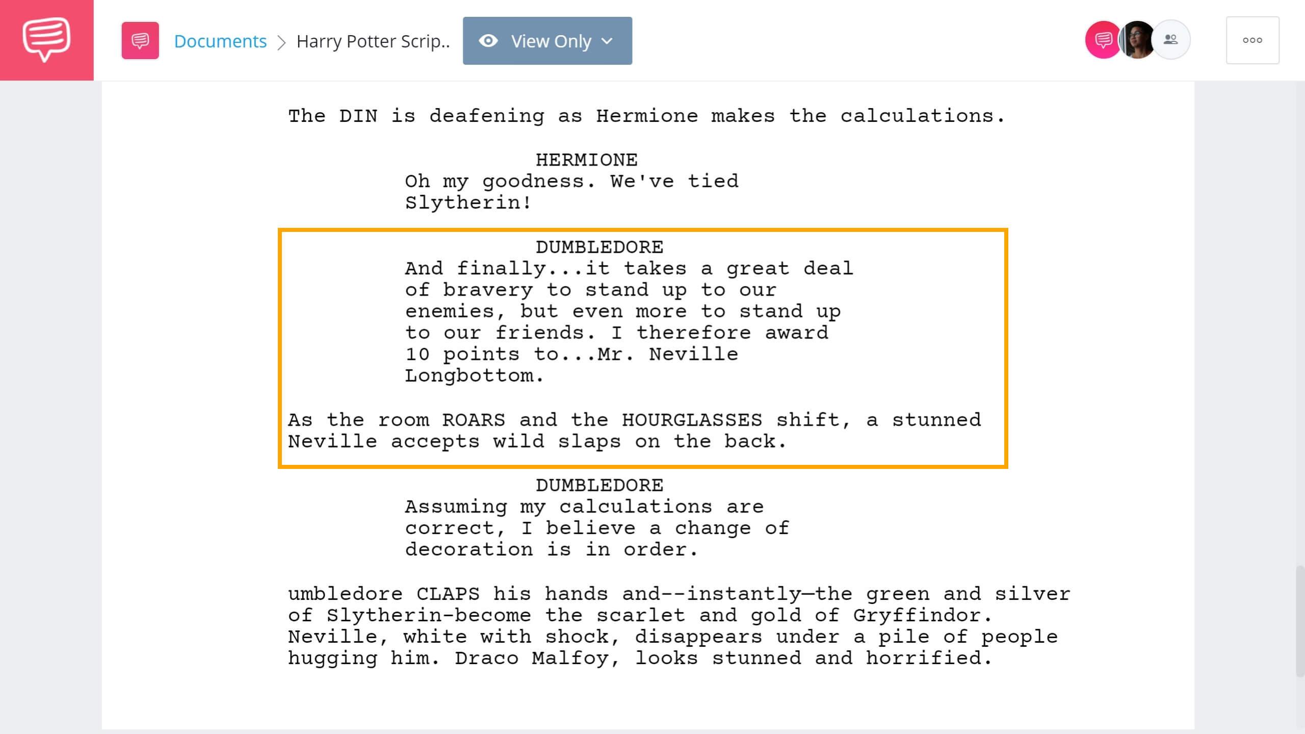 Harry Potter Script Teardown Honor Cup Scene StudioBinder Screenwriting Software