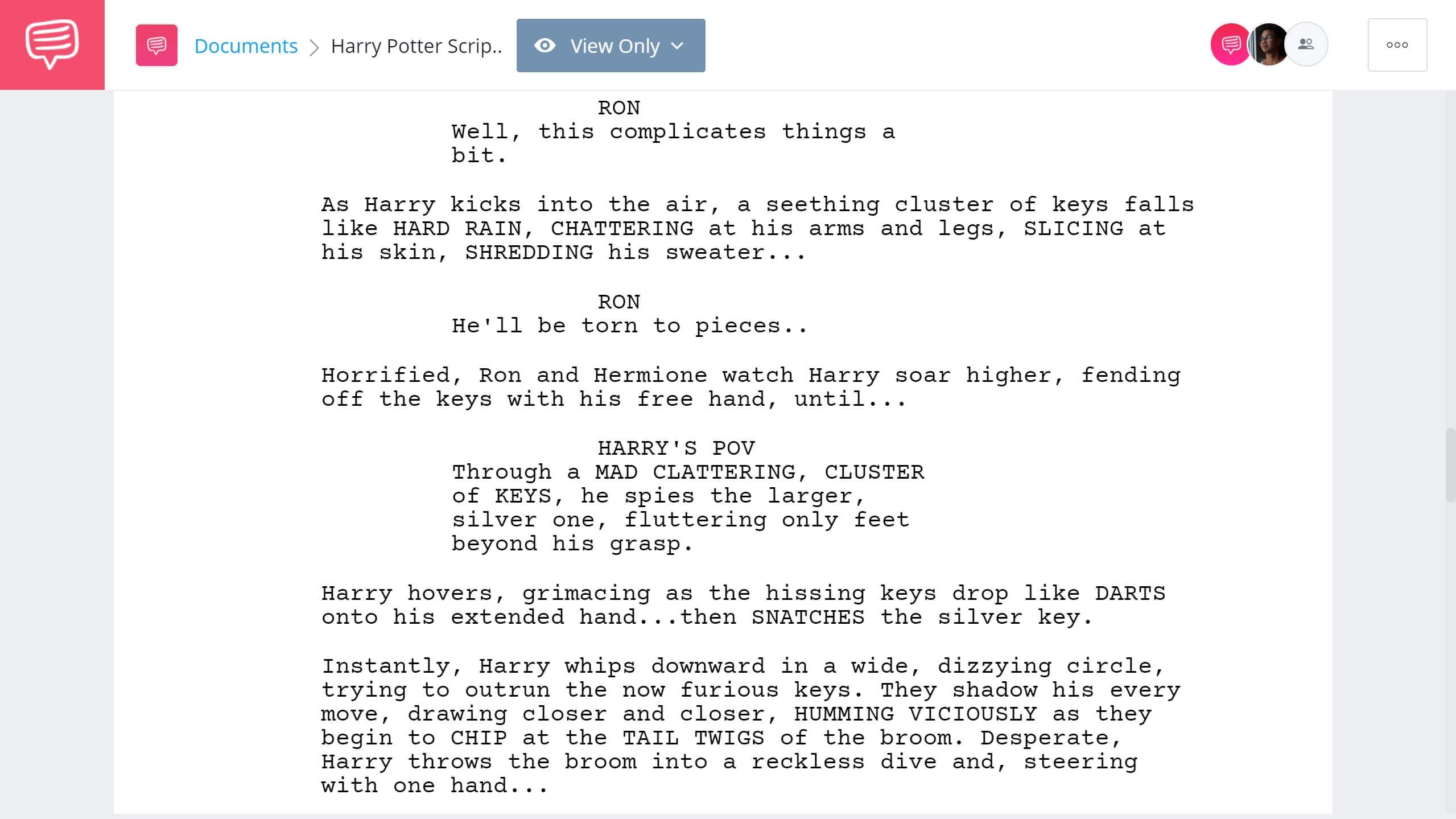 Harry Potter Script Teardown Trials Scene StudioBinder Screenwriting Software