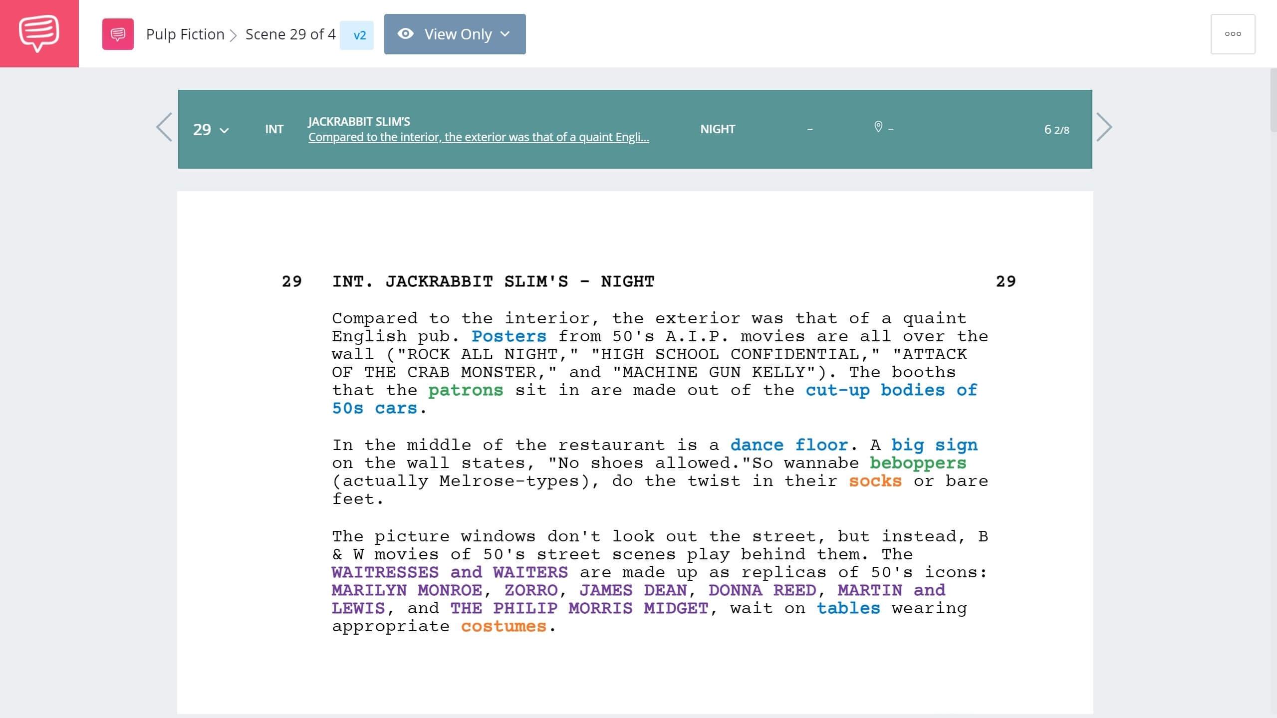 Pulp Fiction Dance Scene Script Breakdown StudioBinder Script Breakdown Software