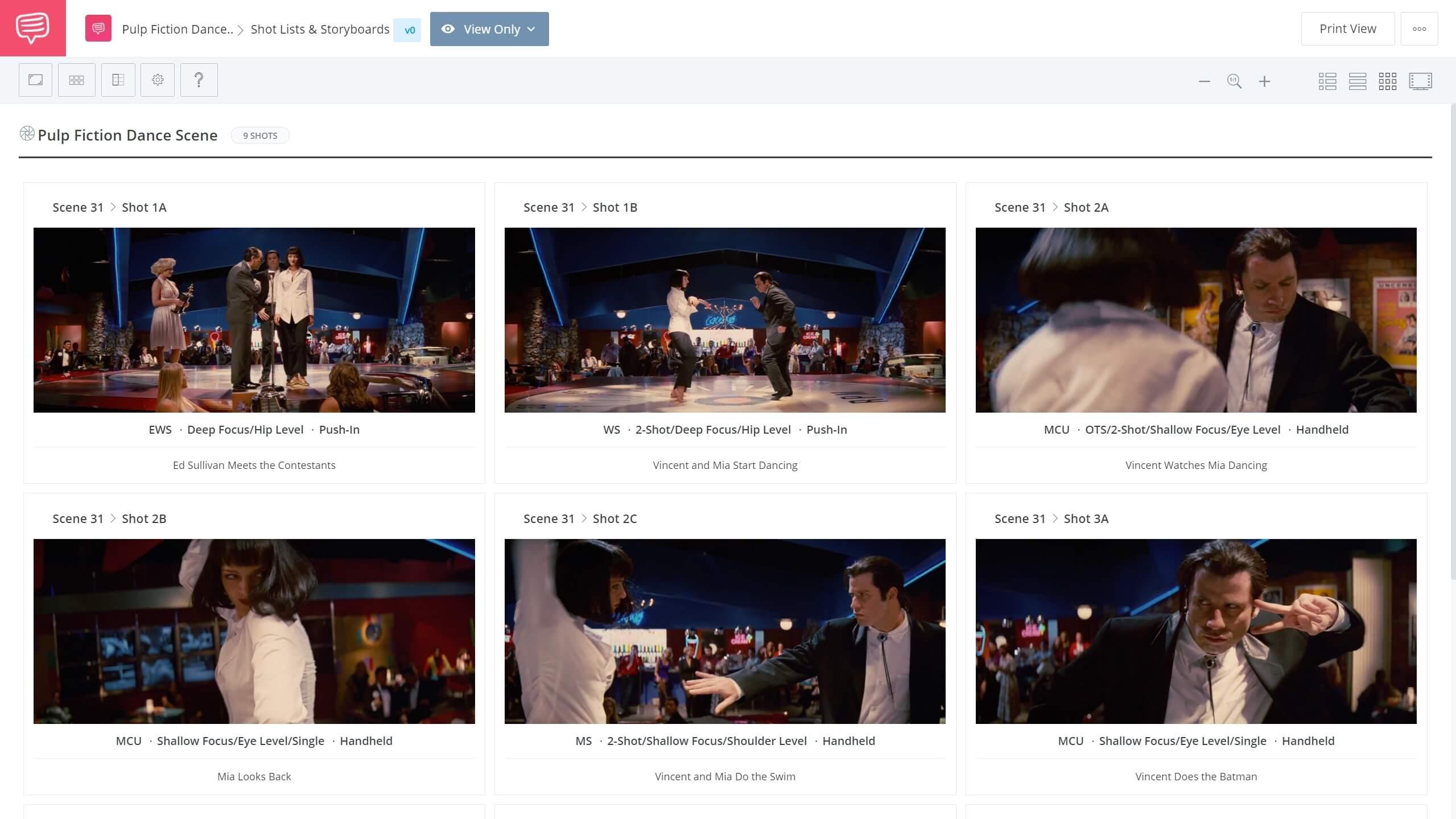 Pulp Fiction Dance Scene Shot List StudioBinder Shotlisting Software