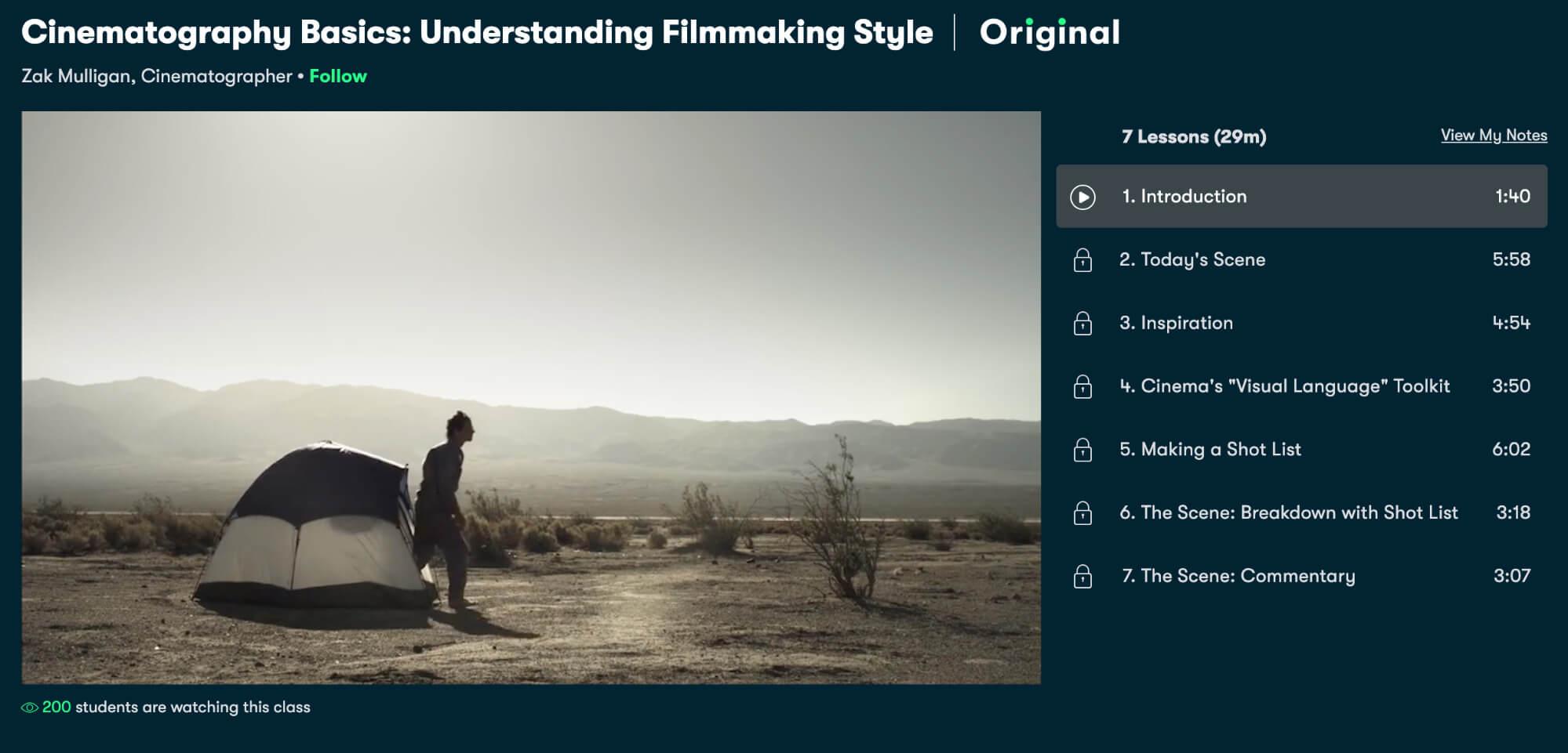 SkillShare Cinematography Course