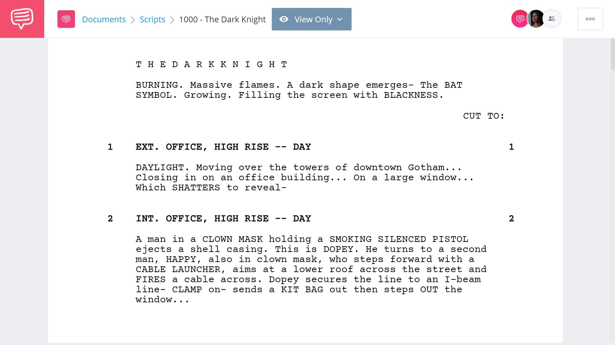 Best Screenwriting Classes The Dark Knight Full Script PDF Download StudioBinder Screenwriting Software