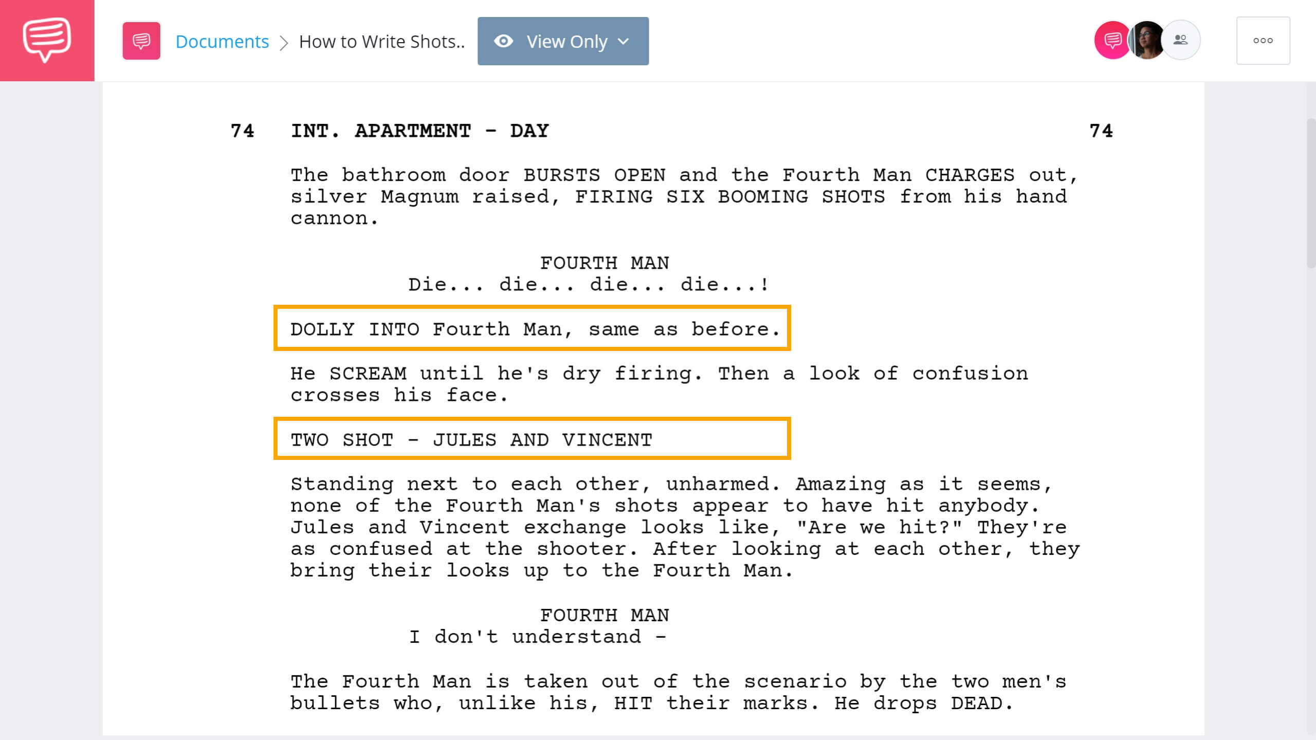 How to Write Shots in a Script Pulp Fiction Example