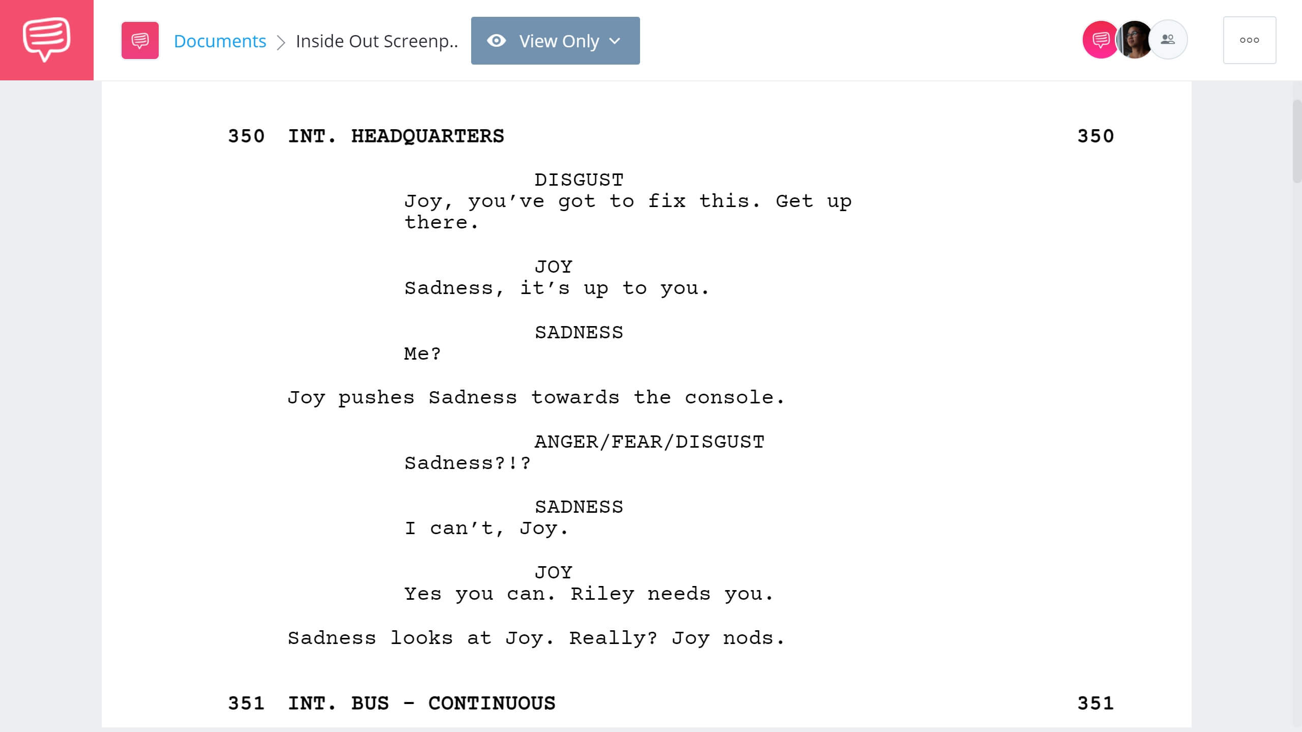 Inside Out Script Teardown Ending StudioBinder Screenwriting Software