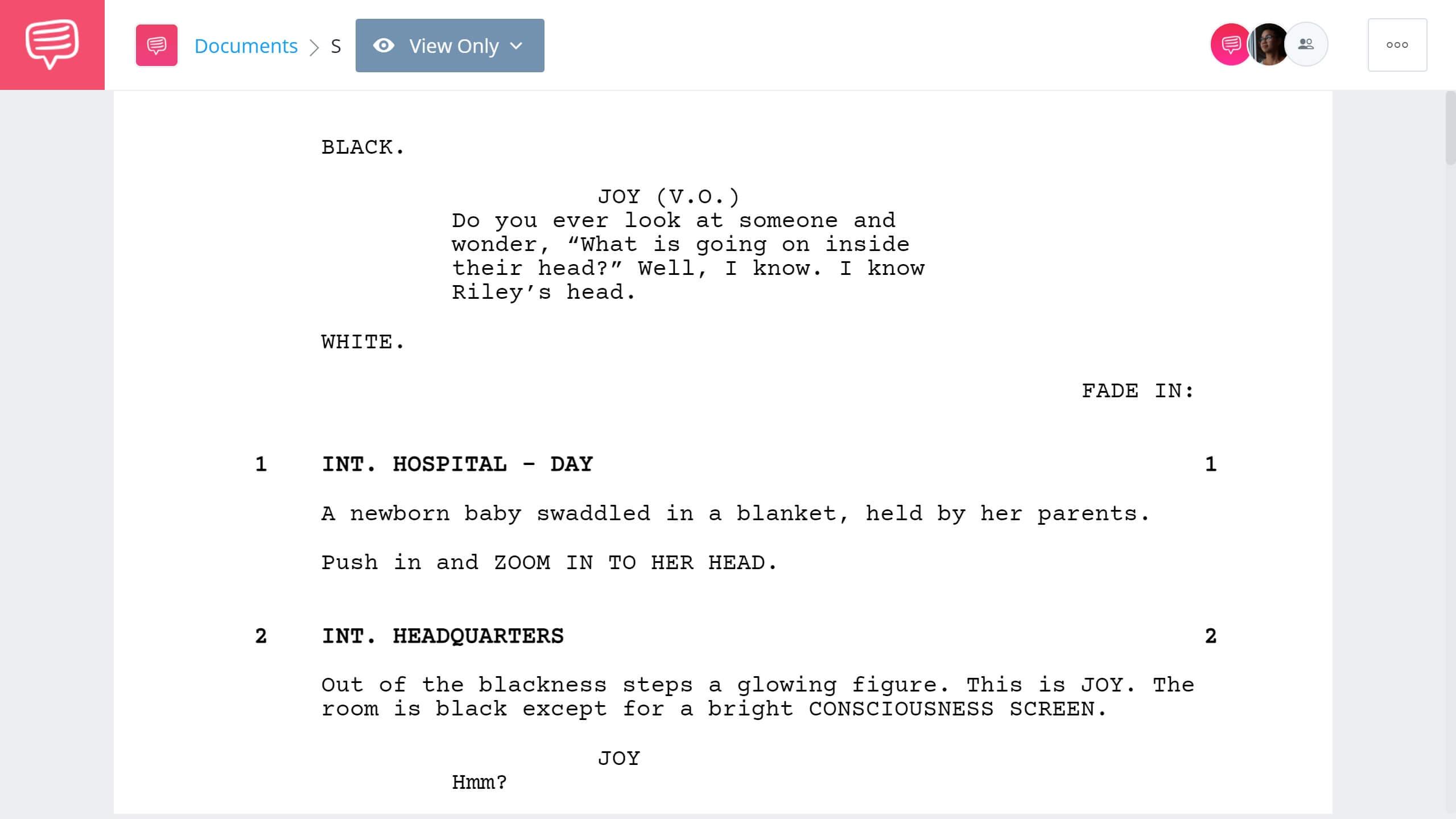 Inside Out Script Teardown Full Script PDF Download StudioBinder Screenwriting Software