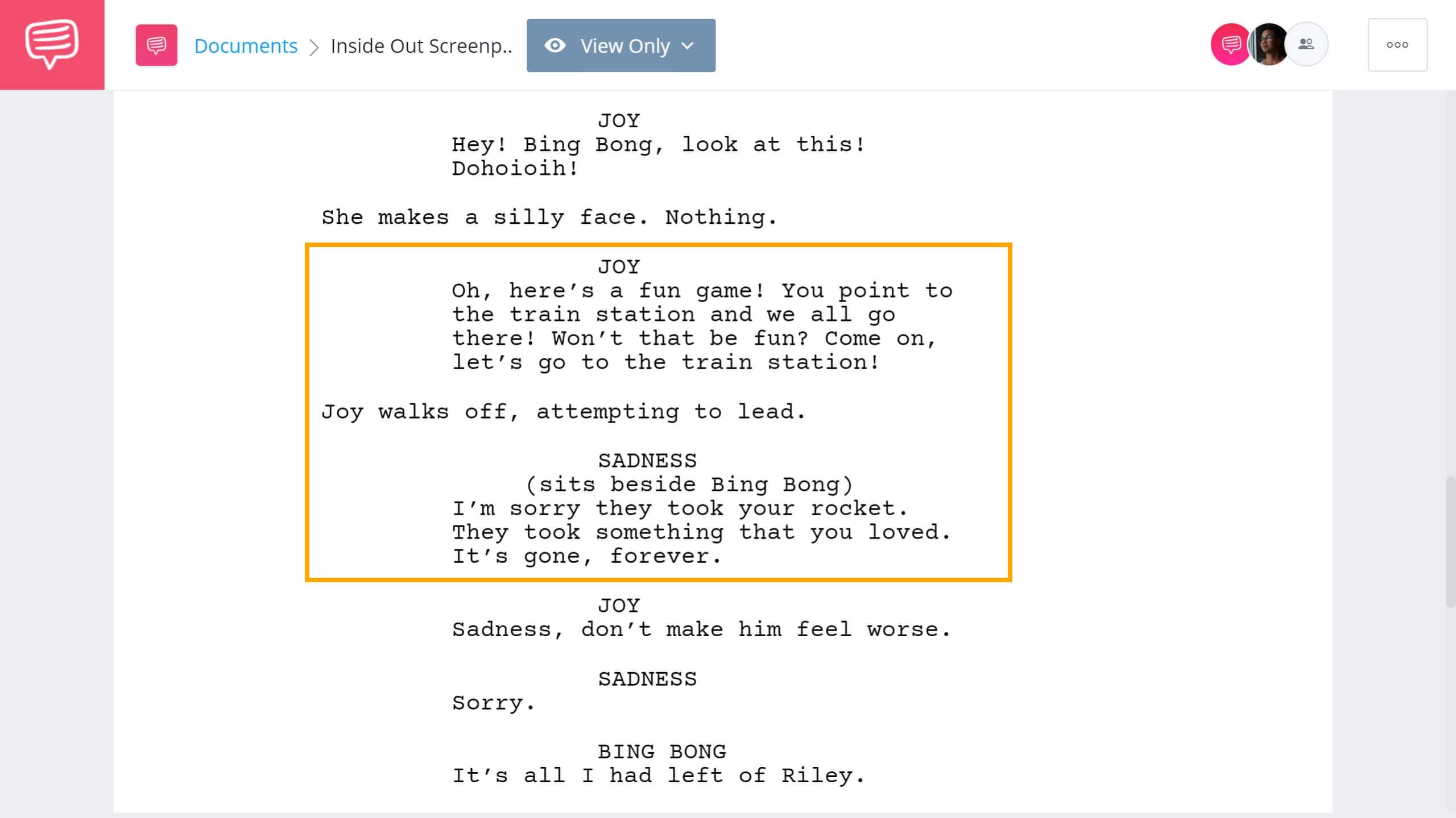 Inside Out Script Teardown Sadness Comforts Bing Bong Scene StudioBinder Screenwriting Software
