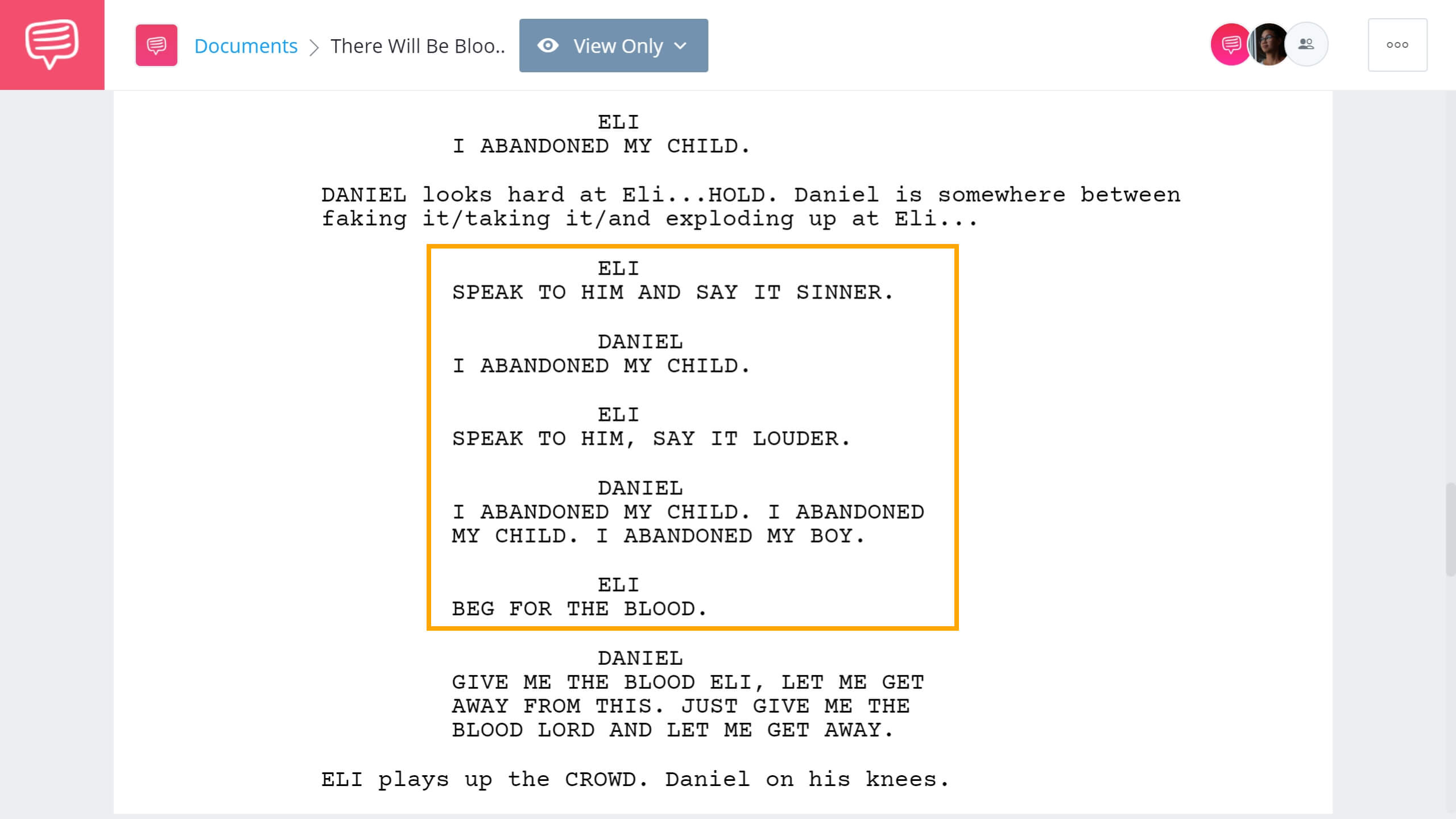 There Will Be Blood Script Teardown Baptism Scene StudioBinder Screenwriting Software