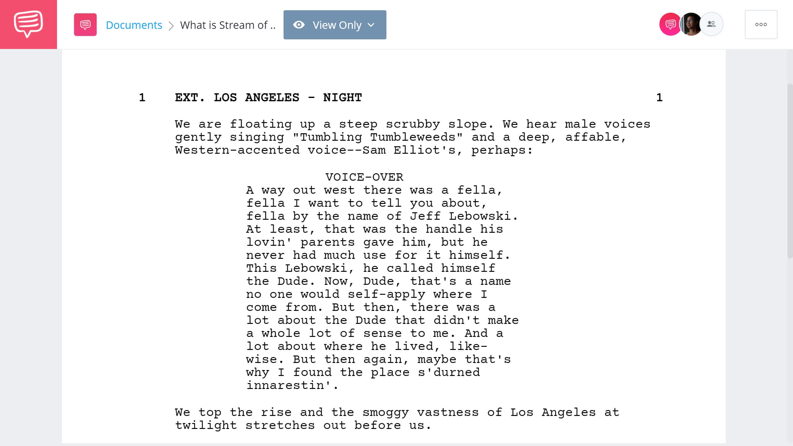 What is Stream of Consciousness Writing The Big Lebowski Excerpt StudioBinder Screenwriting Software